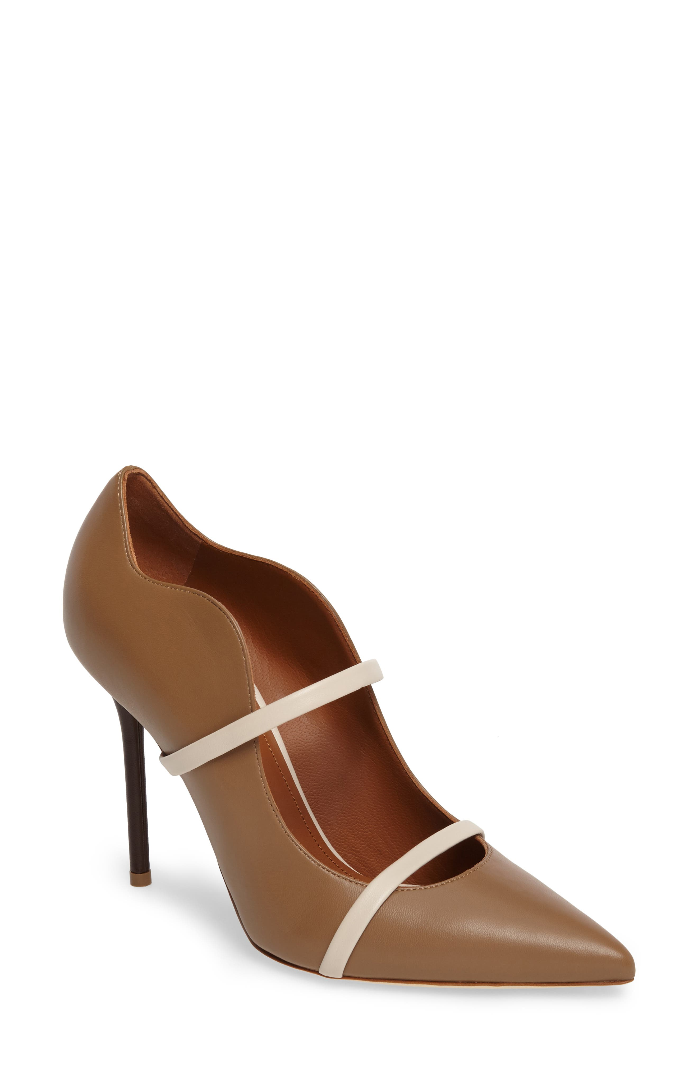 Maureen Double Band Pump,                             Main thumbnail 1, color,                             Chocolate/ White Leather