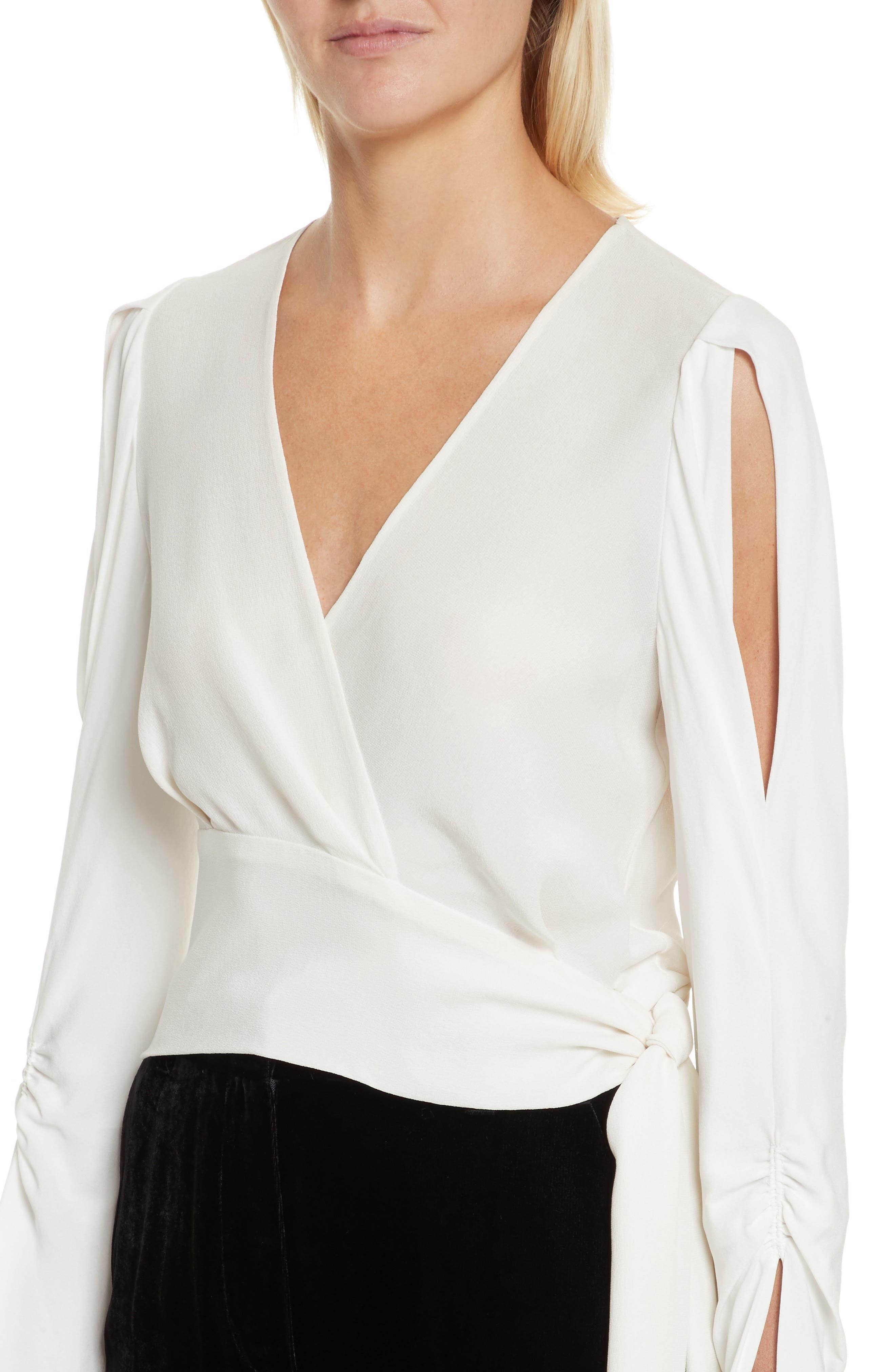 Slit Sleeve Silk Blouse,                             Alternate thumbnail 4, color,                             Antique White