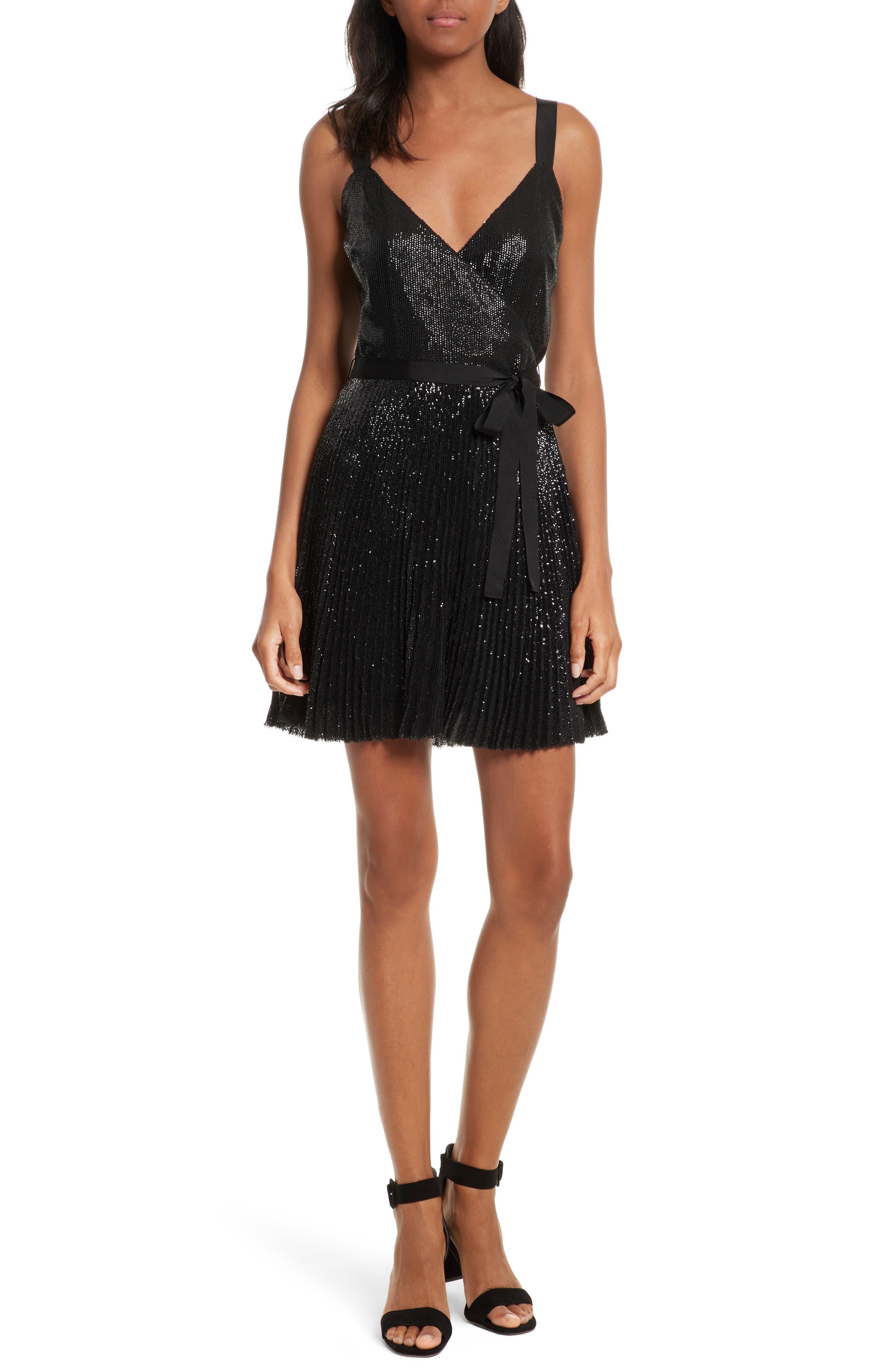 Itara Sequin Mesh Dress,                             Main thumbnail 1, color,                             Caviar