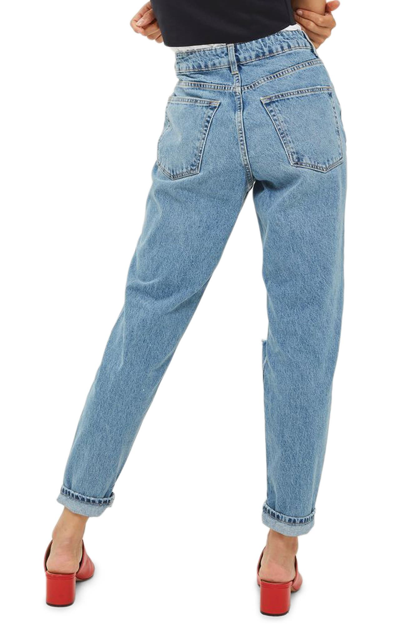Ripped Mom Jeans,                             Alternate thumbnail 3, color,                             Mid Denim