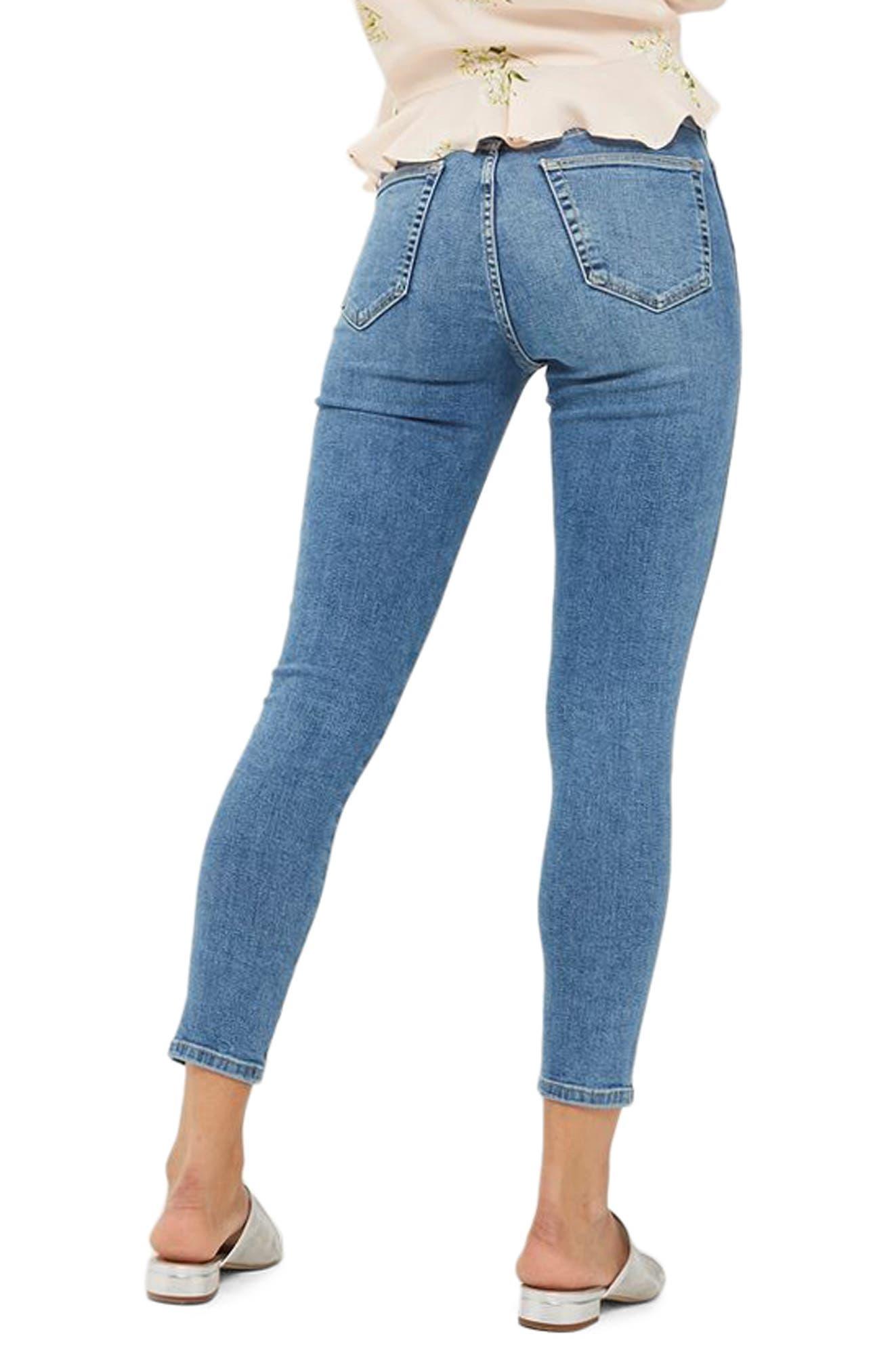Jamie Twist Hem Skinny Jeans,                             Alternate thumbnail 2, color,                             Mid Denim