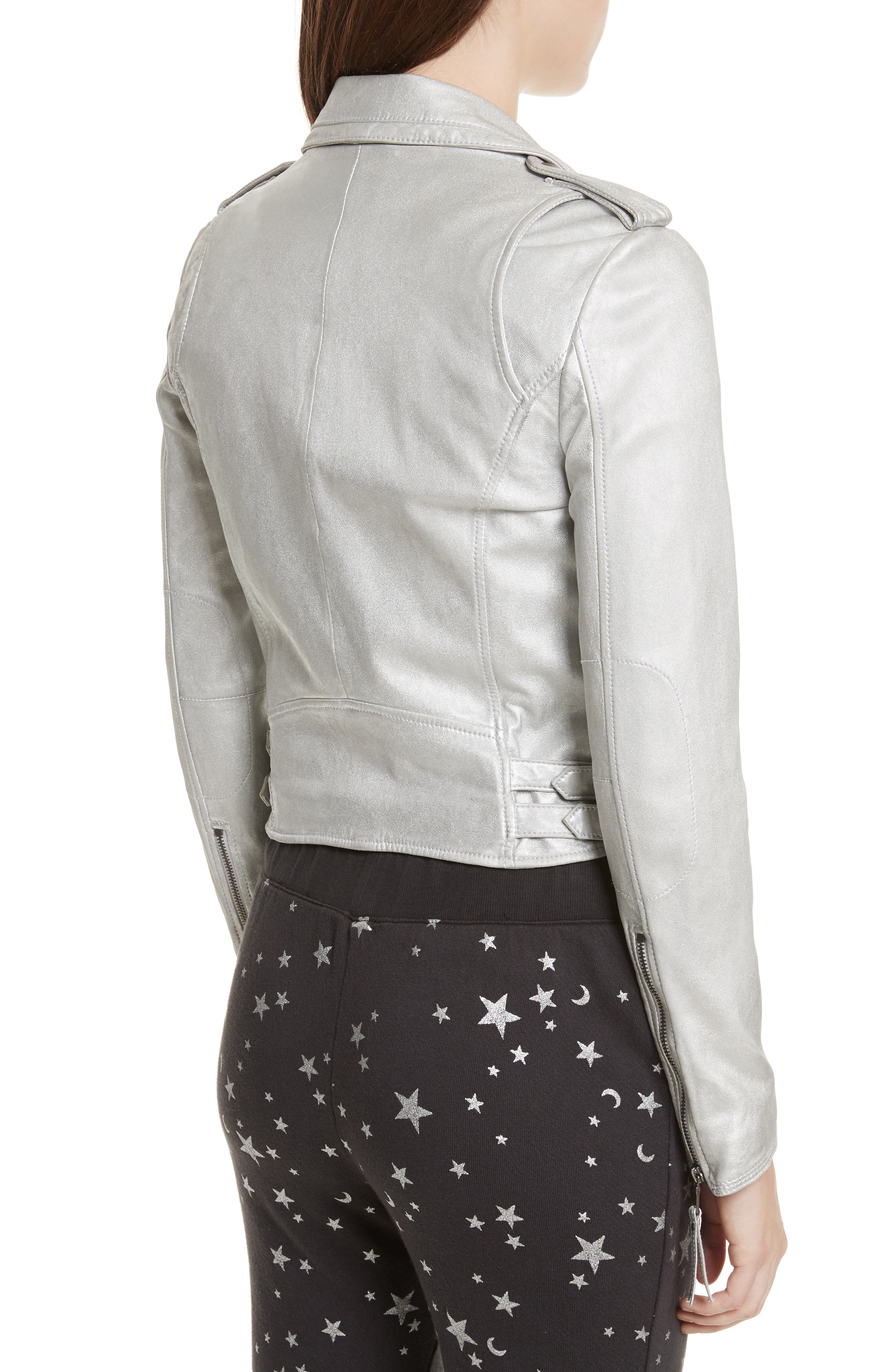 Leolani Leather Jacket,                             Alternate thumbnail 2, color,                             Silver