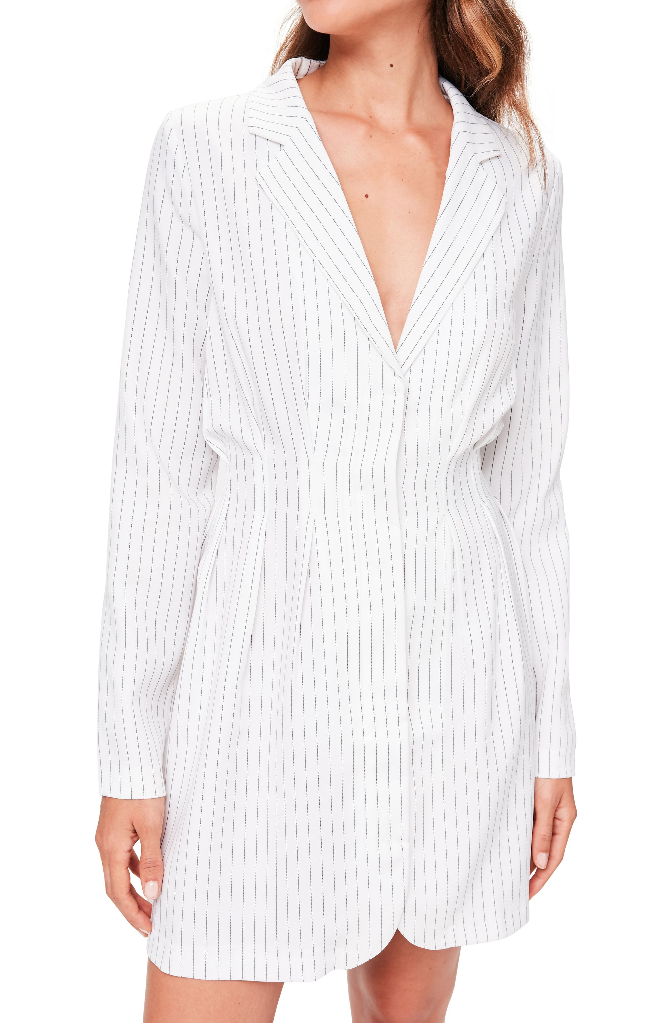 Pinstripe Blazer Dress,                             Alternate thumbnail 4, color,                             White