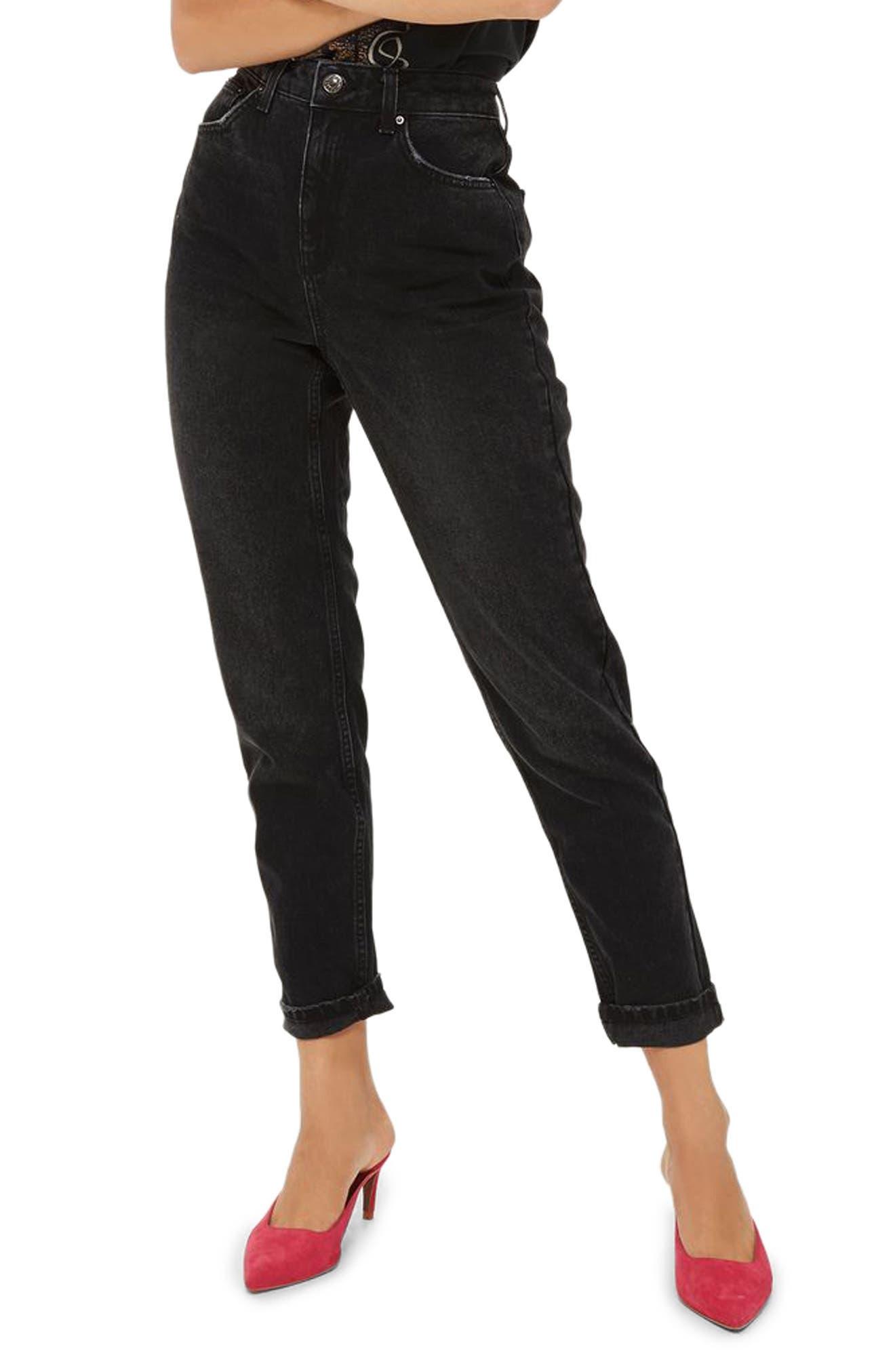 Mom Jeans,                         Main,                         color, Washed Black