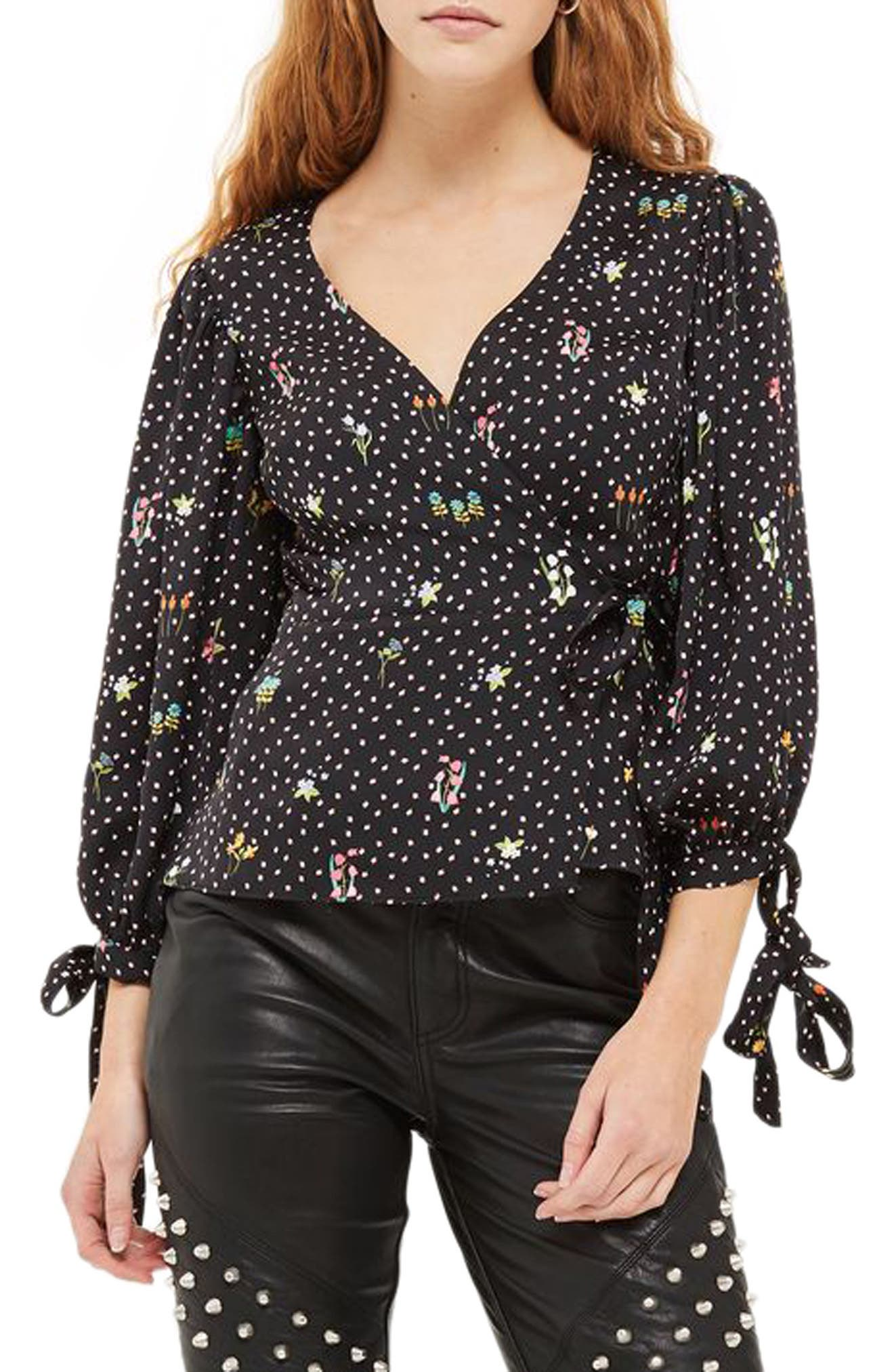 Floral Balloon Sleeve Wrap Blouse,                         Main,                         color, Black Multi