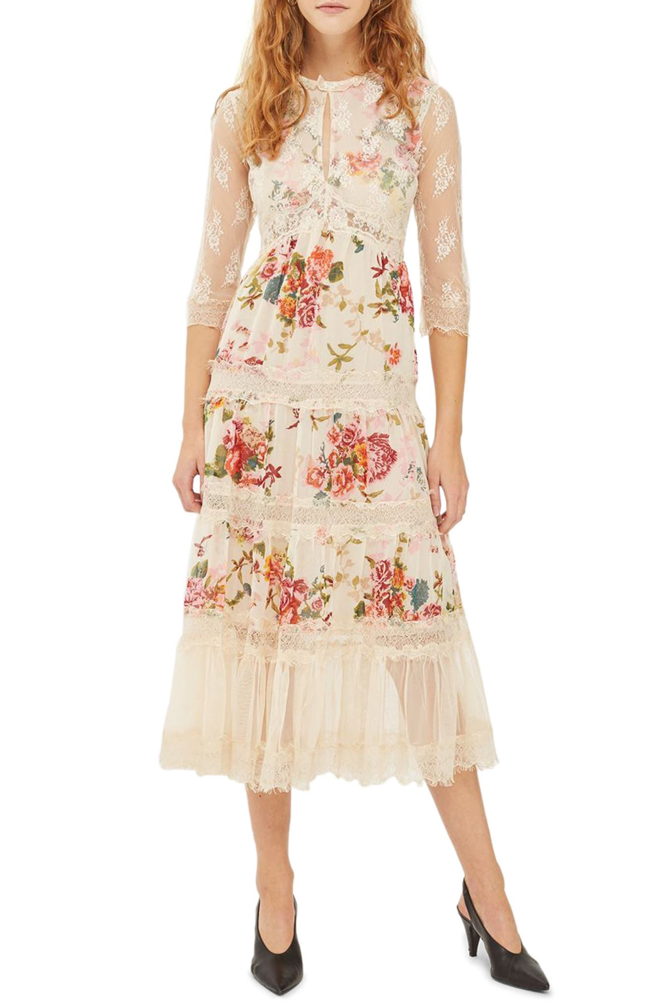 Lace Tier Floral Midi Dress,                             Main thumbnail 1, color,                             Ivory Multi