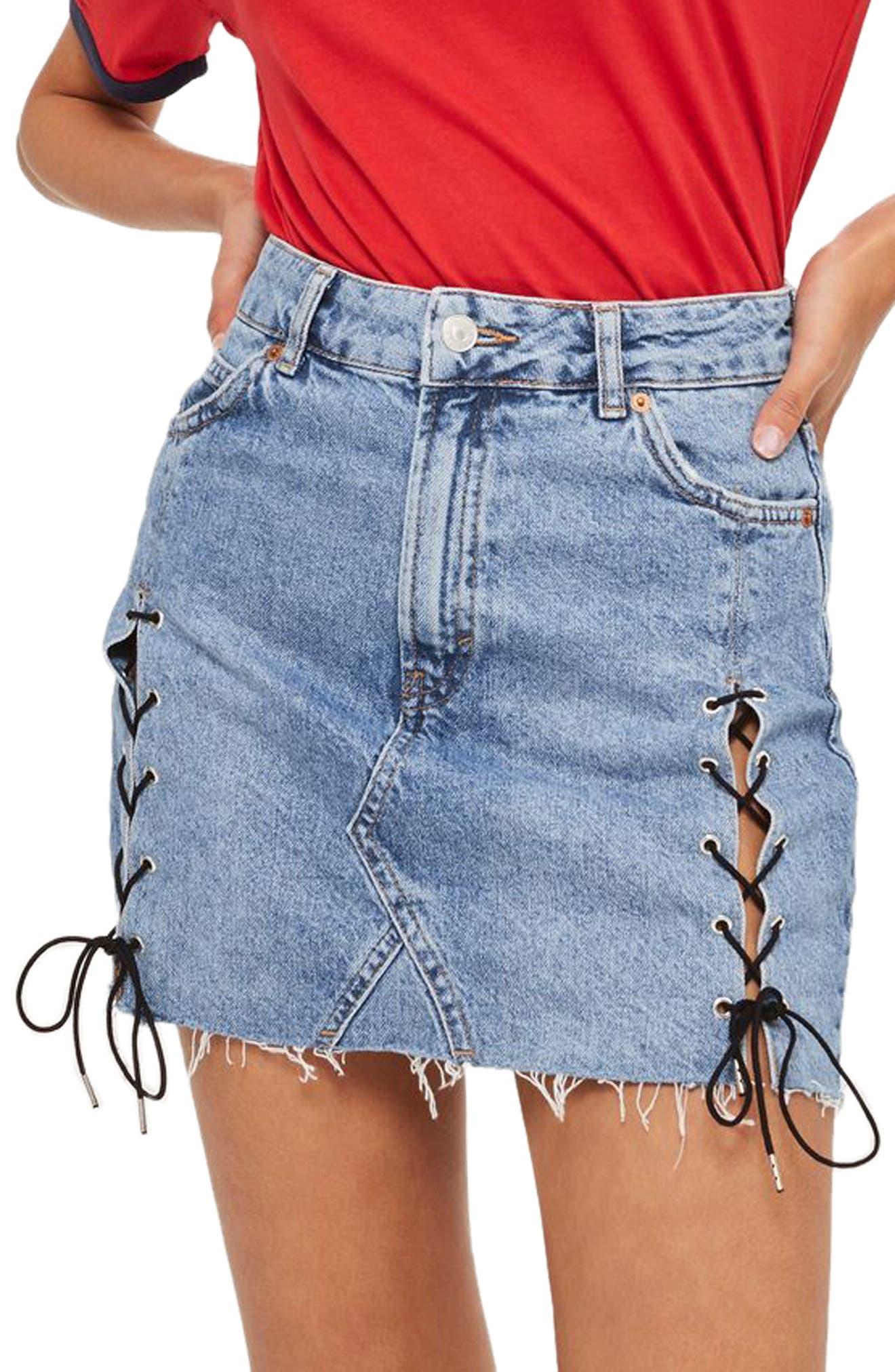 Topshop Lace-Up Denim Miniskirt (Regular & Petite)