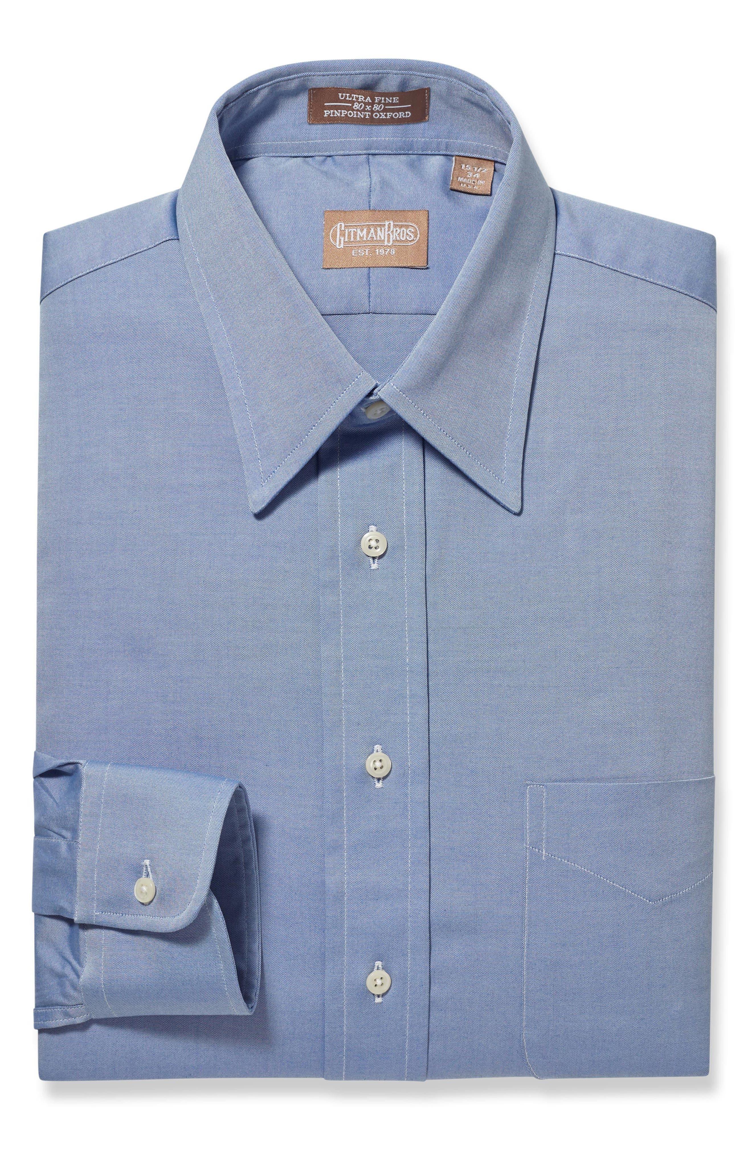 Regular Fit Solid Dress Shirt,                             Main thumbnail 1, color,                             Blue