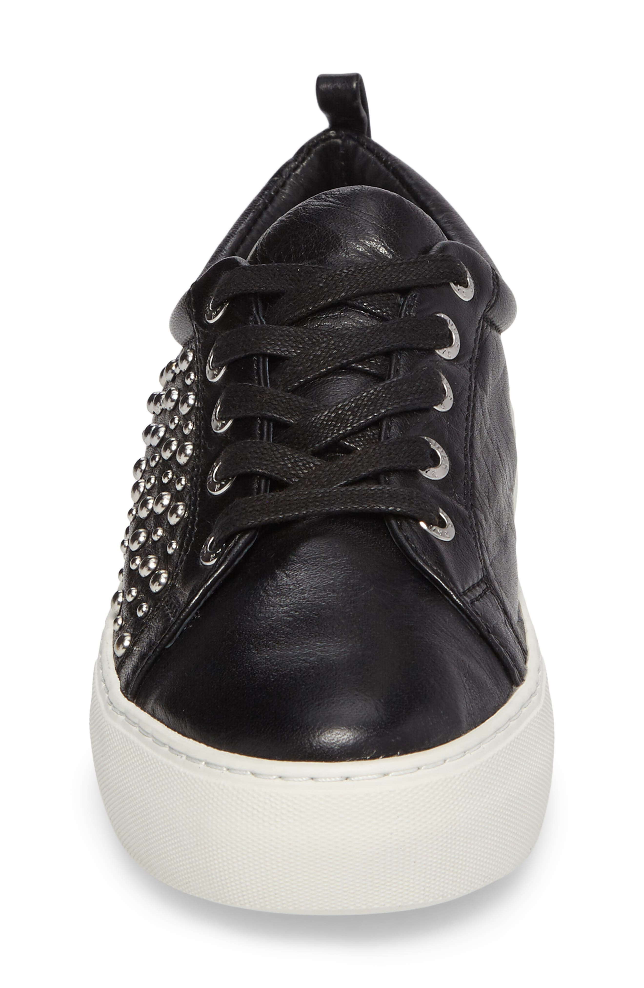 Ambrosia Studded Lace-Up Sneaker,                             Alternate thumbnail 4, color,                             Black Leather