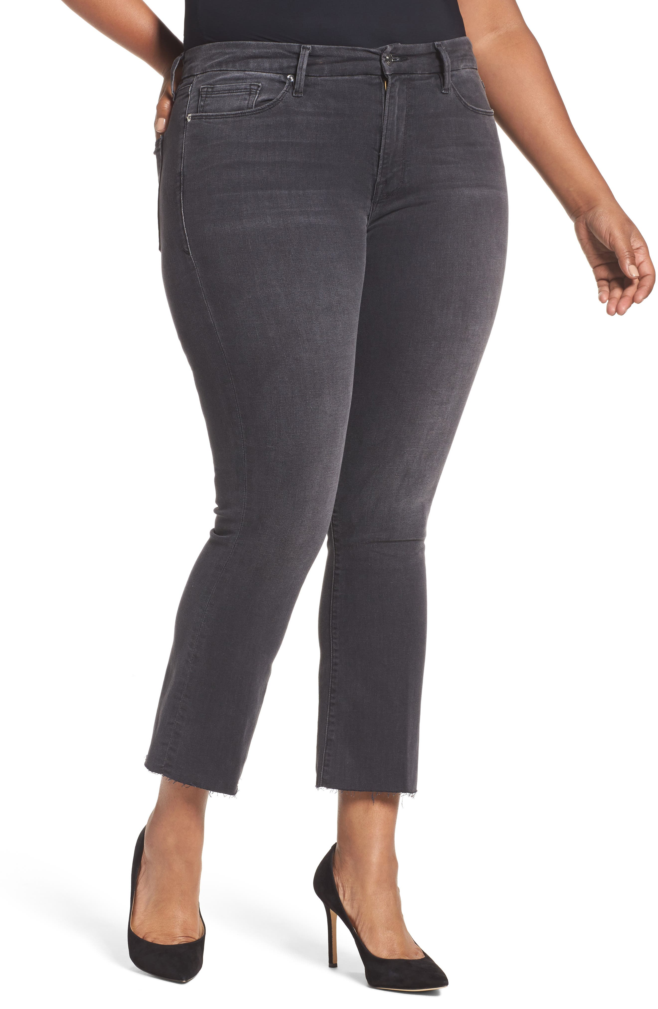Alternate Image 6  - Good American Good Boot Crop Bootcut Jeans (Black 008) (Extended Sizes)