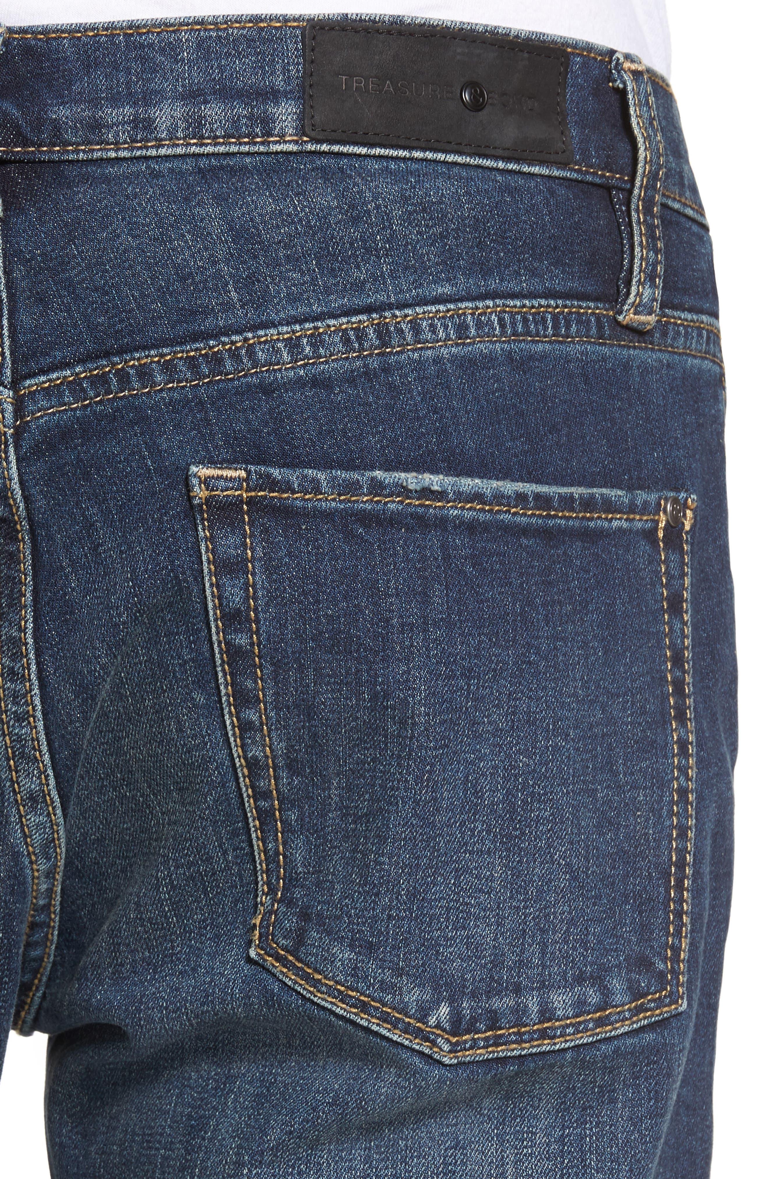 Slim Fit Destroyed Jeans,                             Alternate thumbnail 4, color,                             Blue Medium Indigo