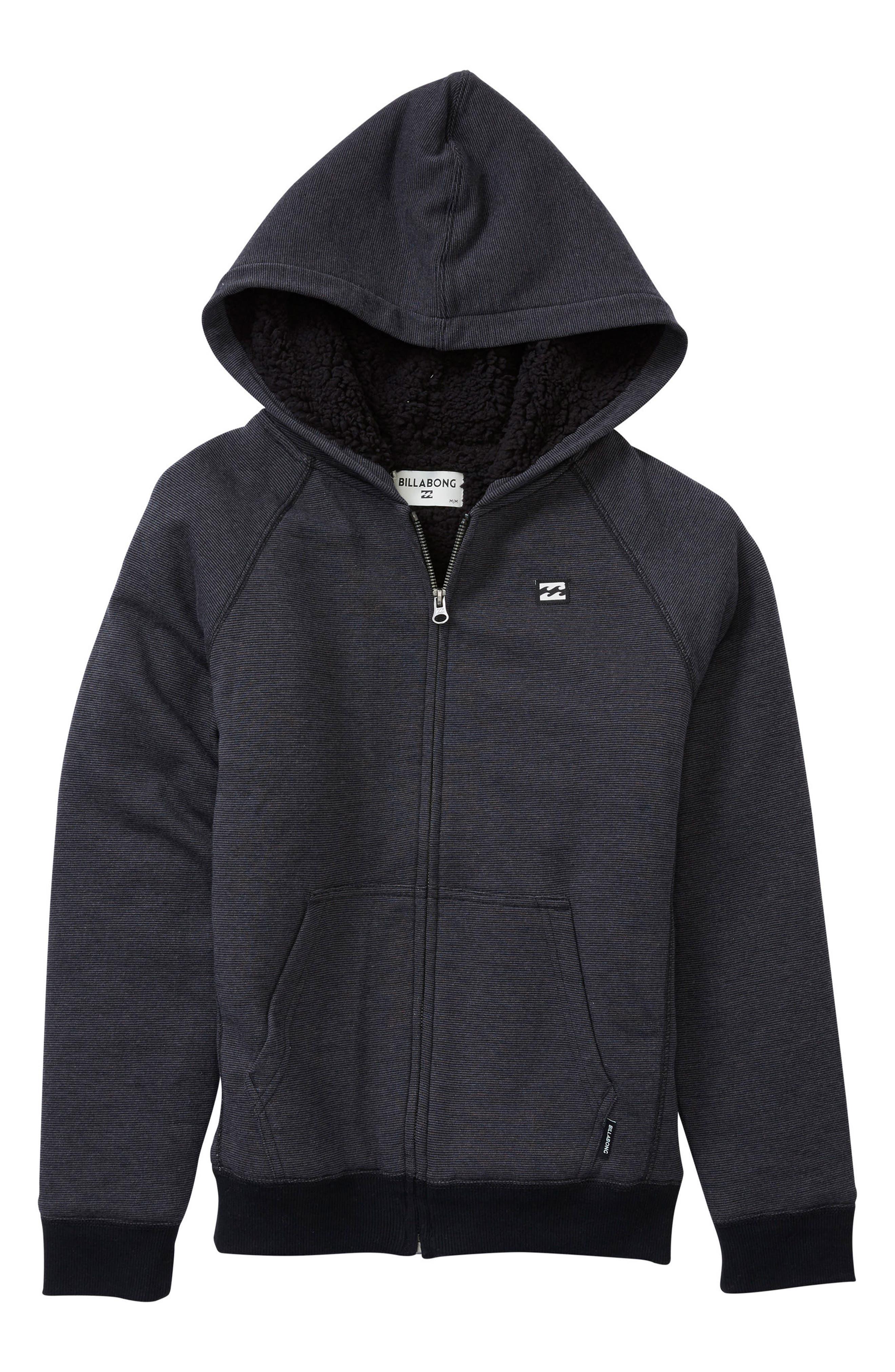 Balance Fleece Lined Zip Hoodie,                             Main thumbnail 1, color,                             Black Heather