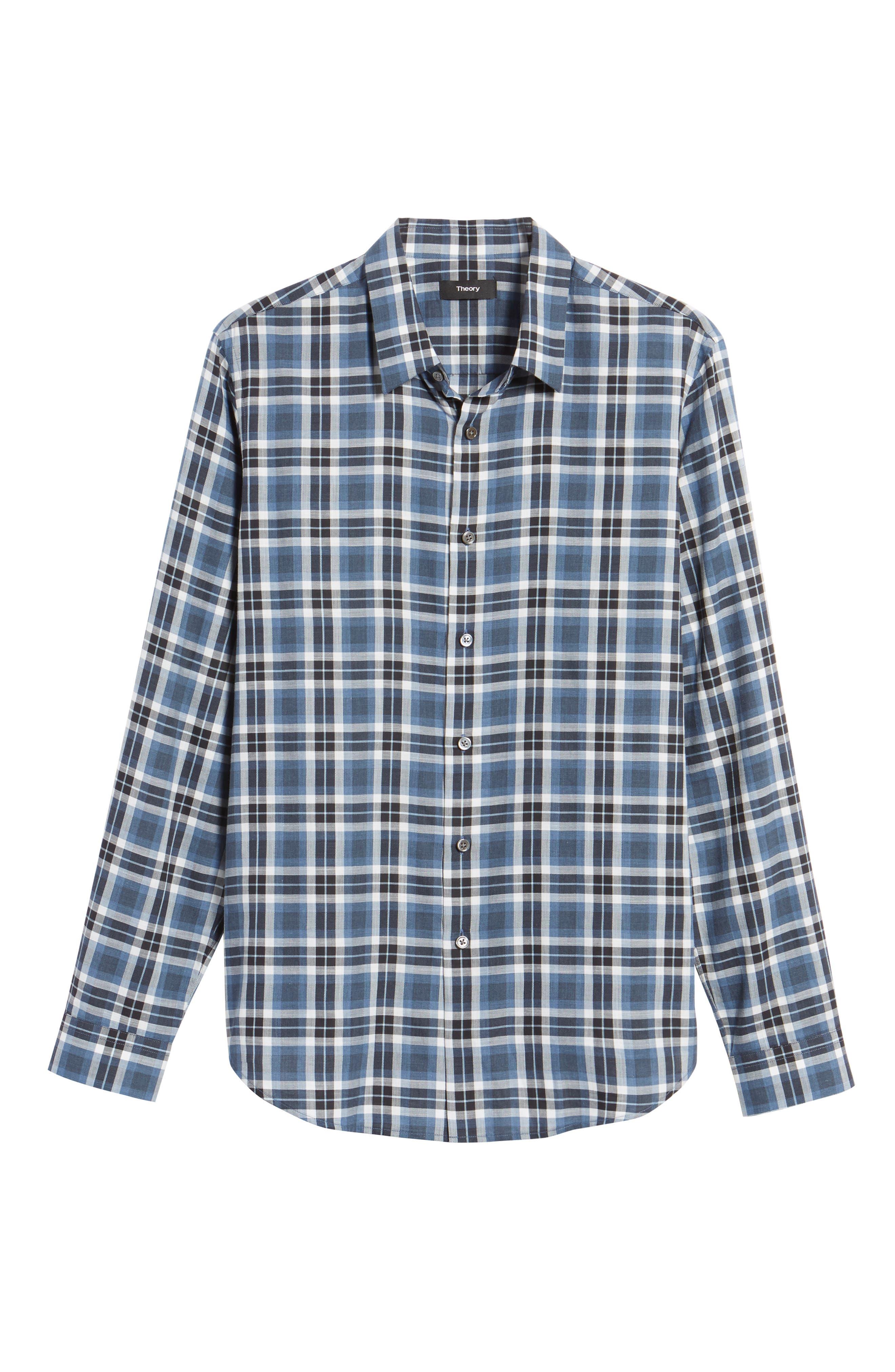 Trim Fit Plaid Flannel Shirt,                             Alternate thumbnail 5, color,                             River Multi