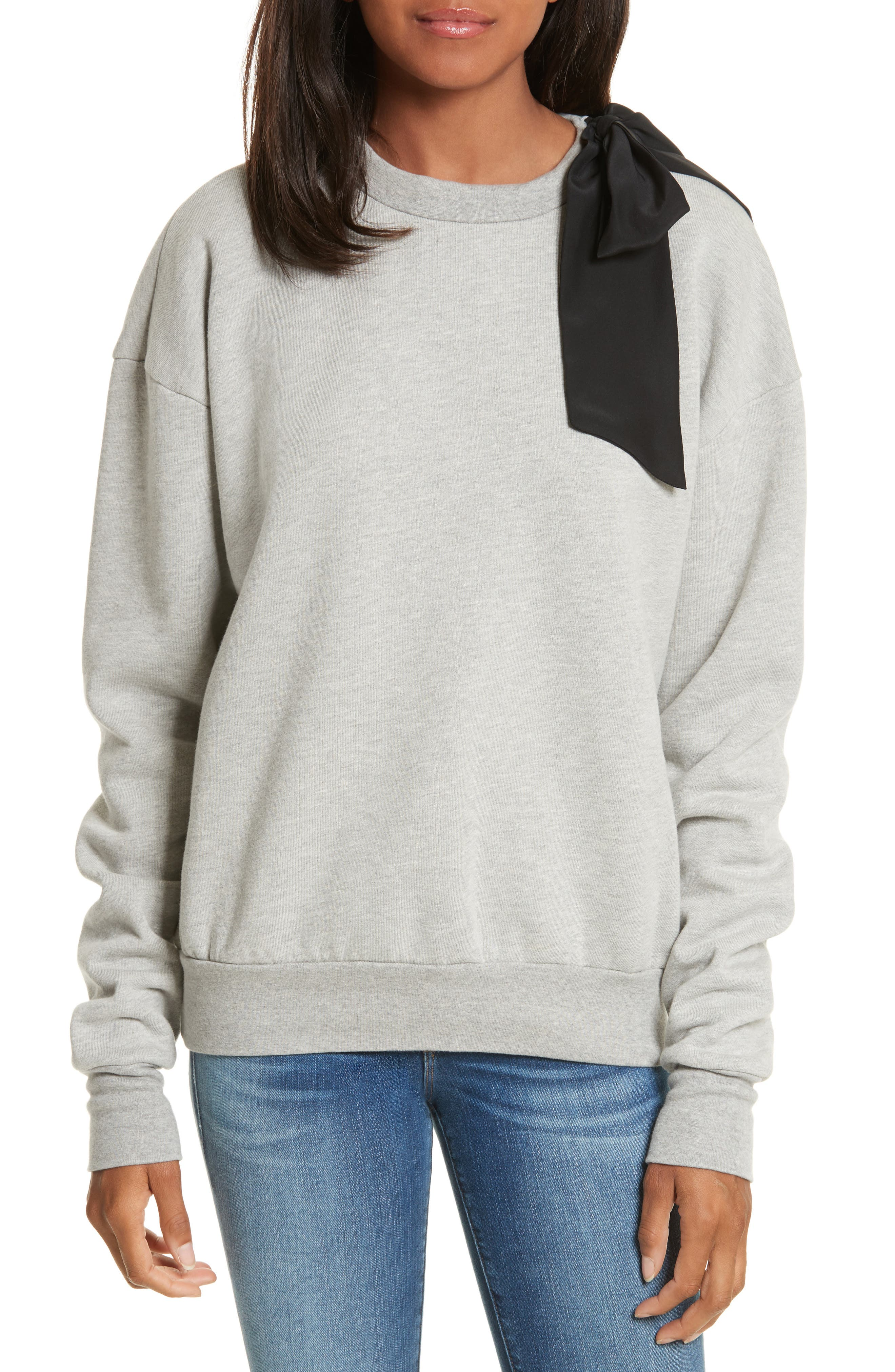 Bow Sweatshirt,                         Main,                         color, Gris