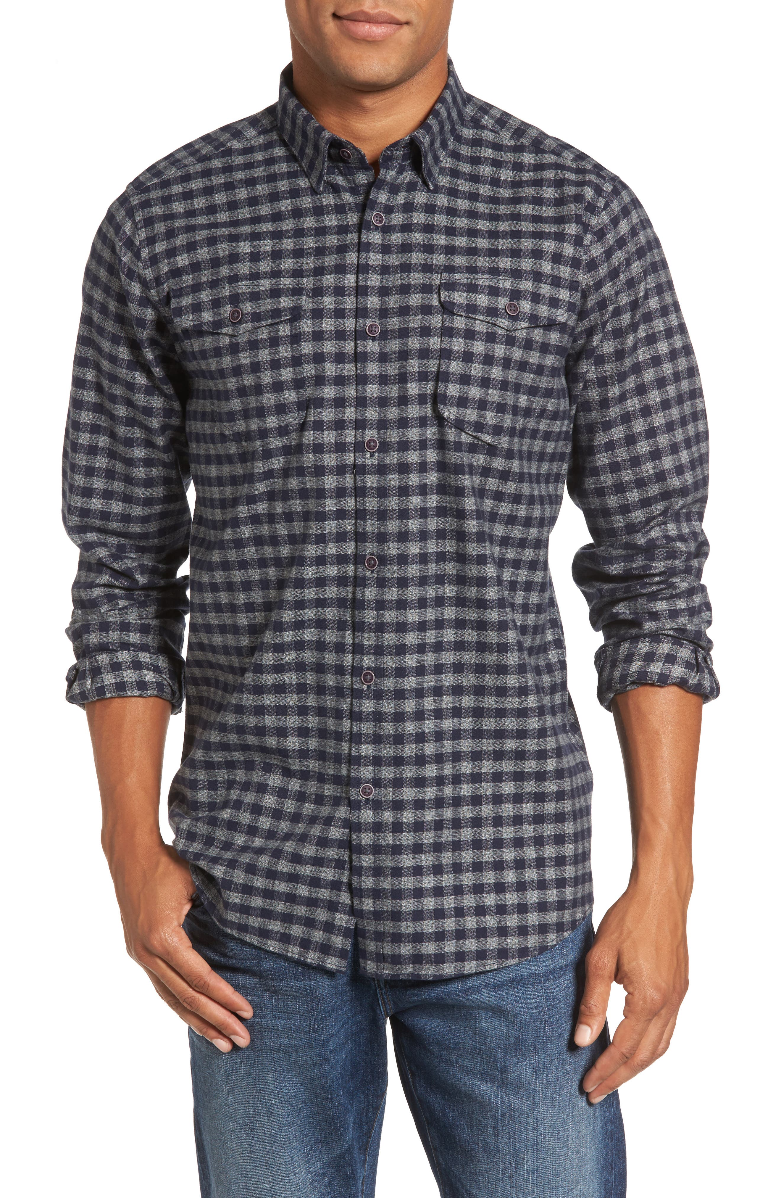 Ratchet Regular Fit Check Sport Shirt,                         Main,                         color, Navy