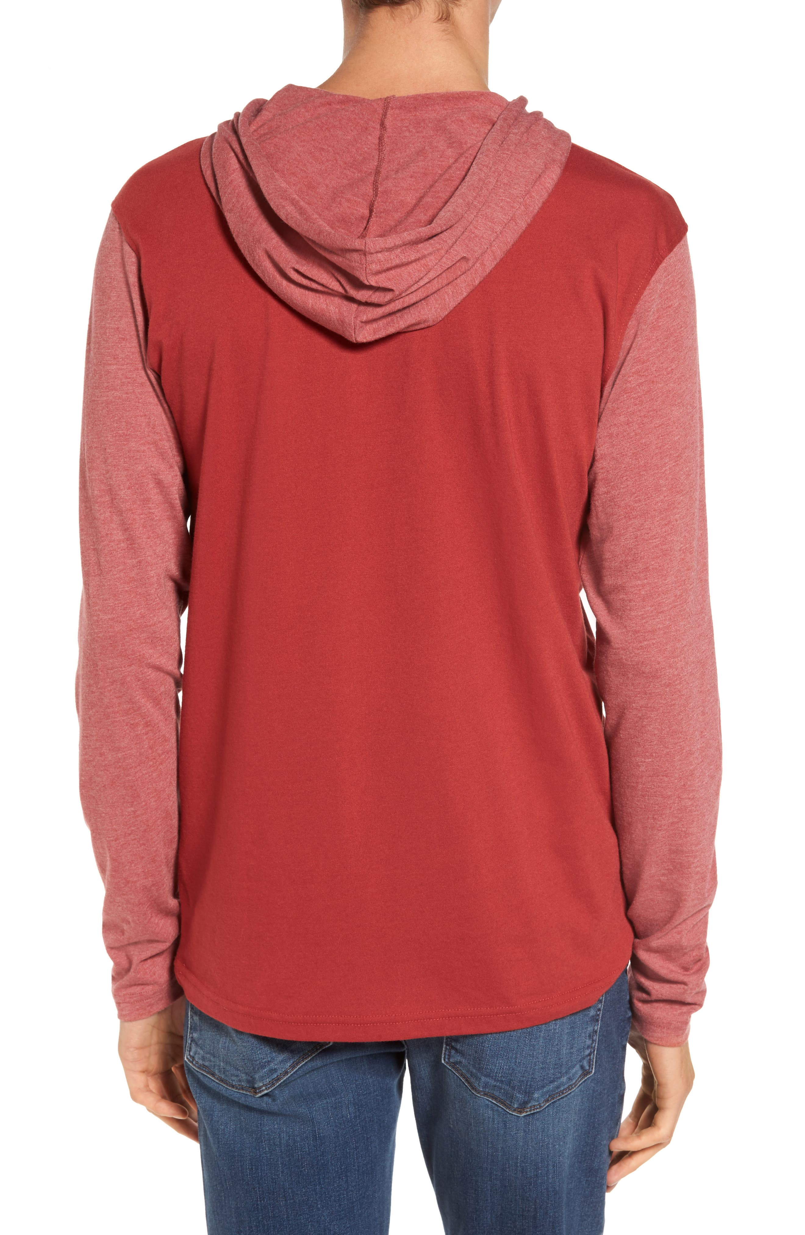 Pick Up Hooded Henley Sweatshirt,                             Alternate thumbnail 2, color,                             Rosewood