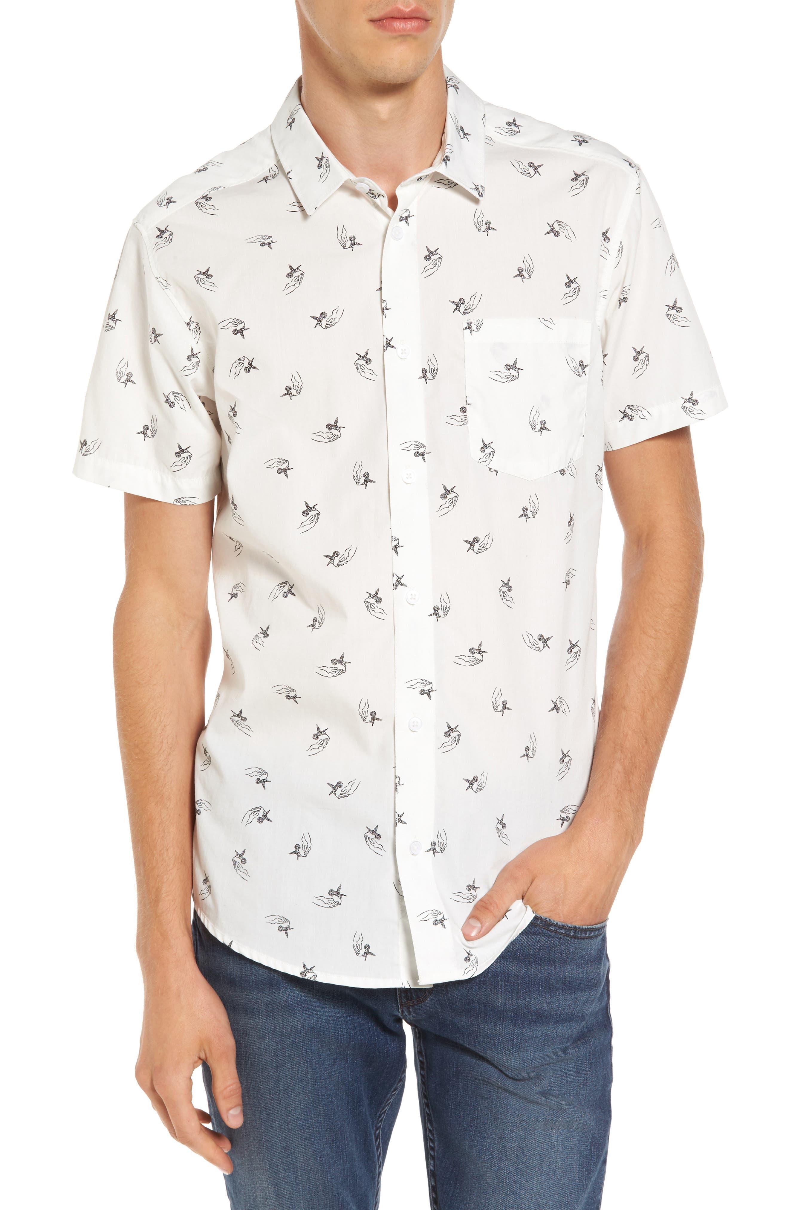 x Kevin Long Hummingbird Woven Shirt,                         Main,                         color, Antique White