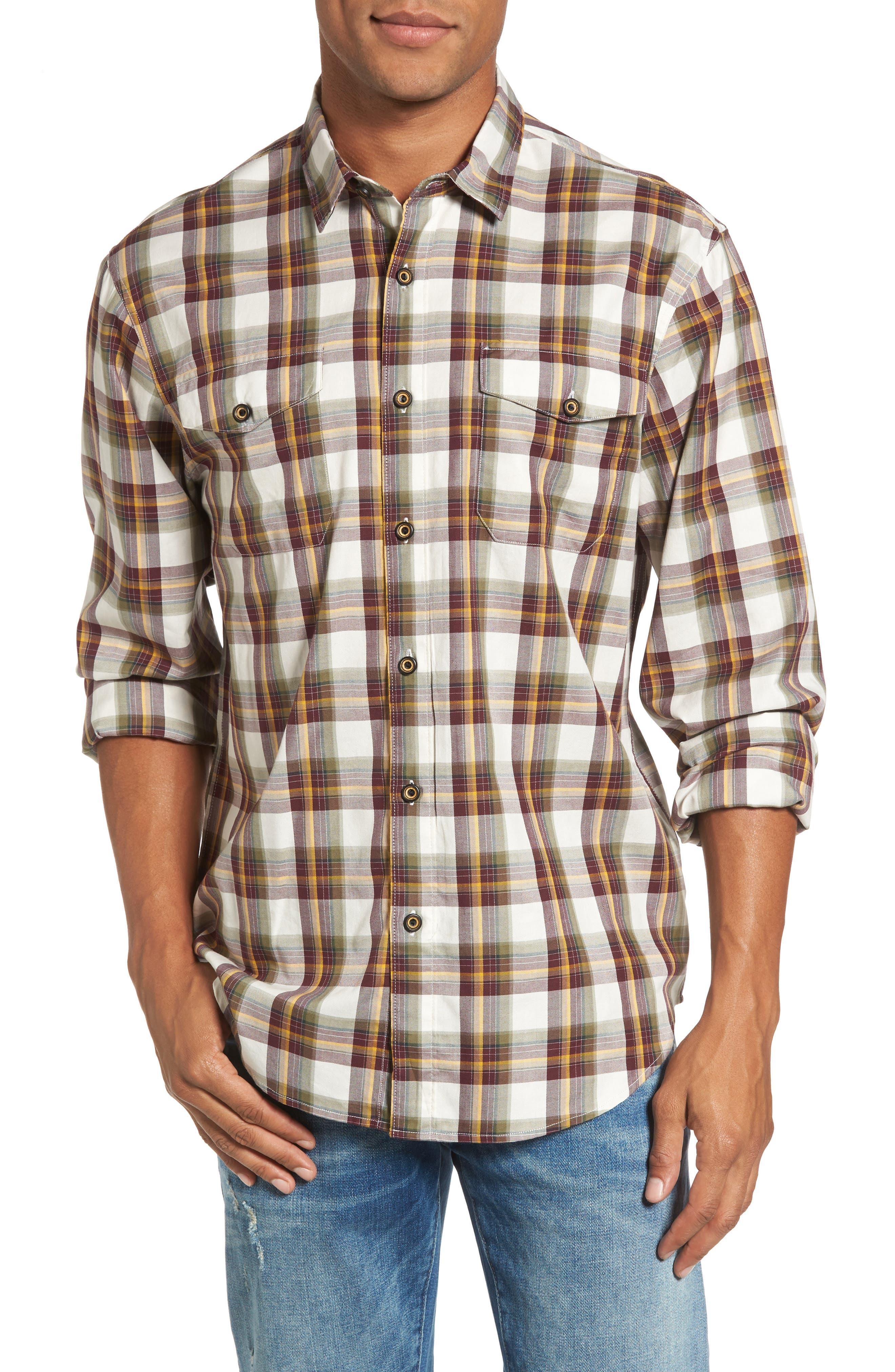 Seacliff Plaid Flannel Shirt,                             Main thumbnail 1, color,                             Merlot