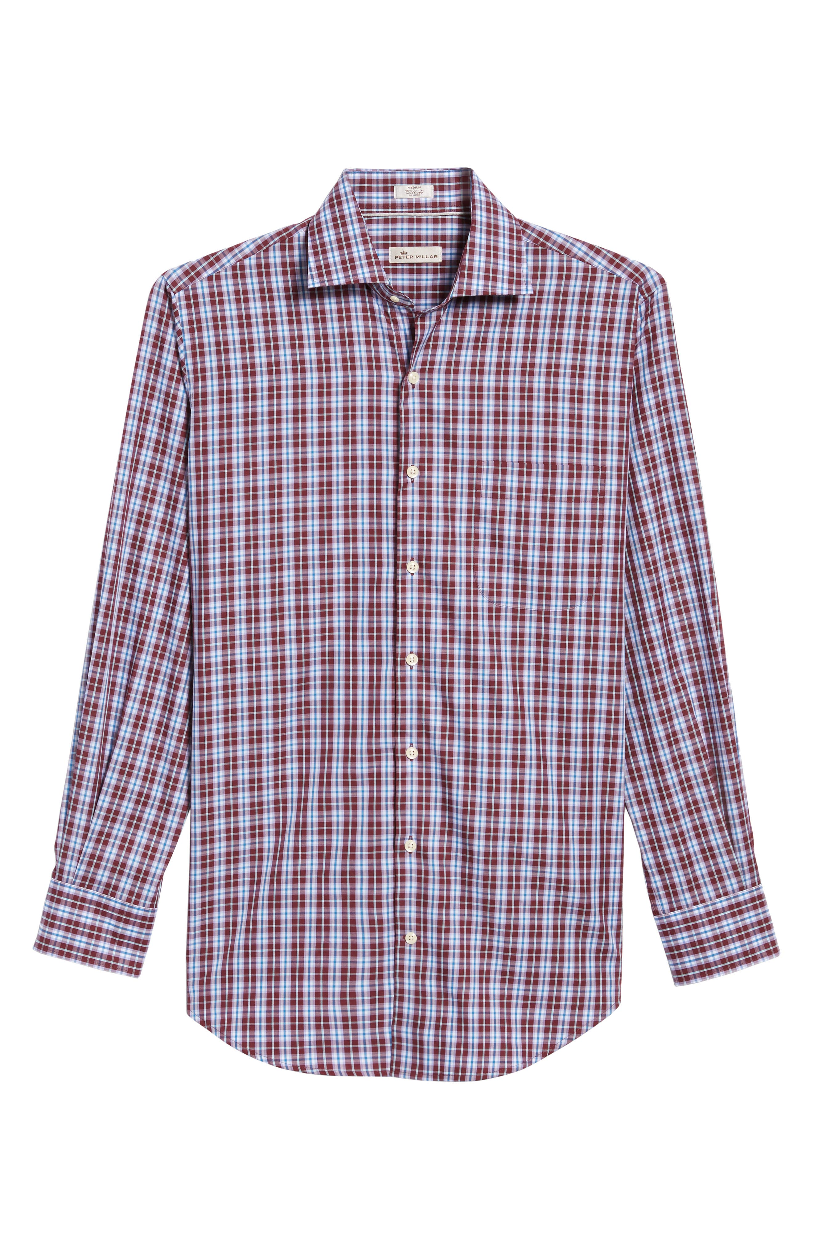 Mitchell Plaid Sport Shirt,                             Alternate thumbnail 6, color,                             French Wine