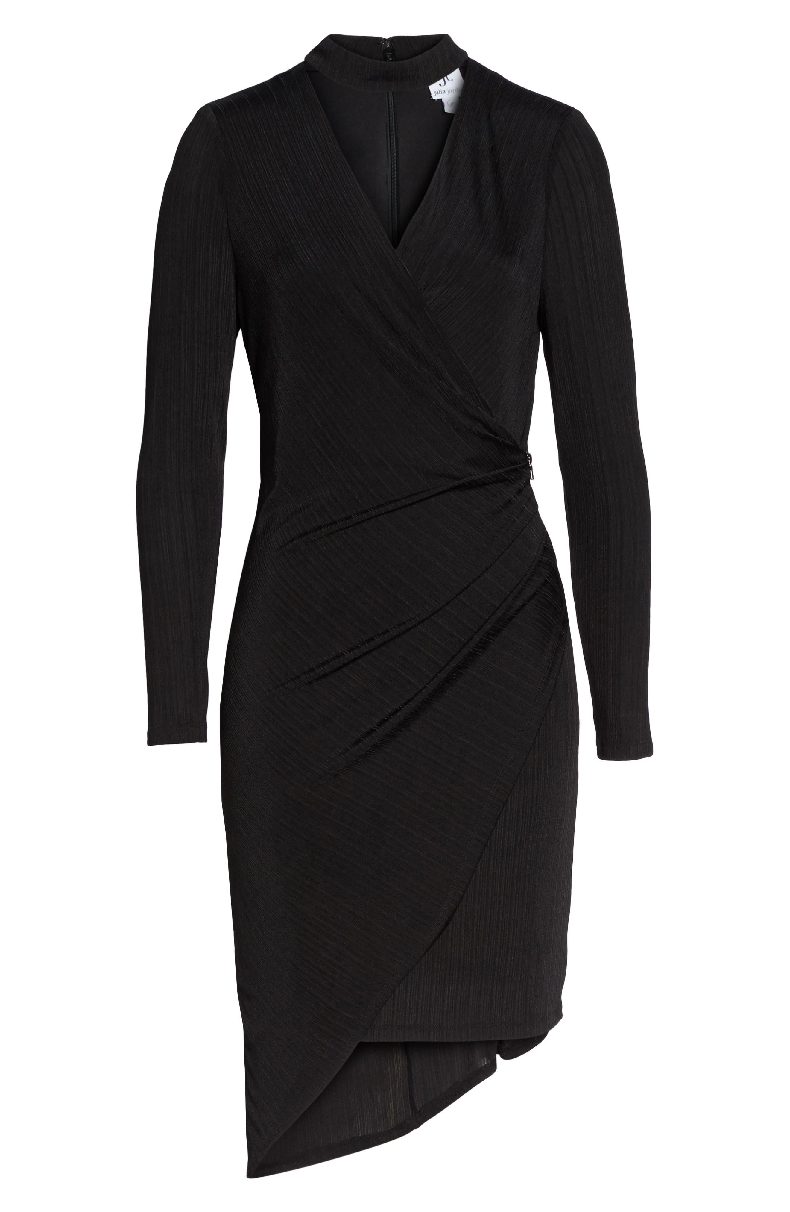 Choker Neck Asymmetric Dress,                             Alternate thumbnail 6, color,                             Black