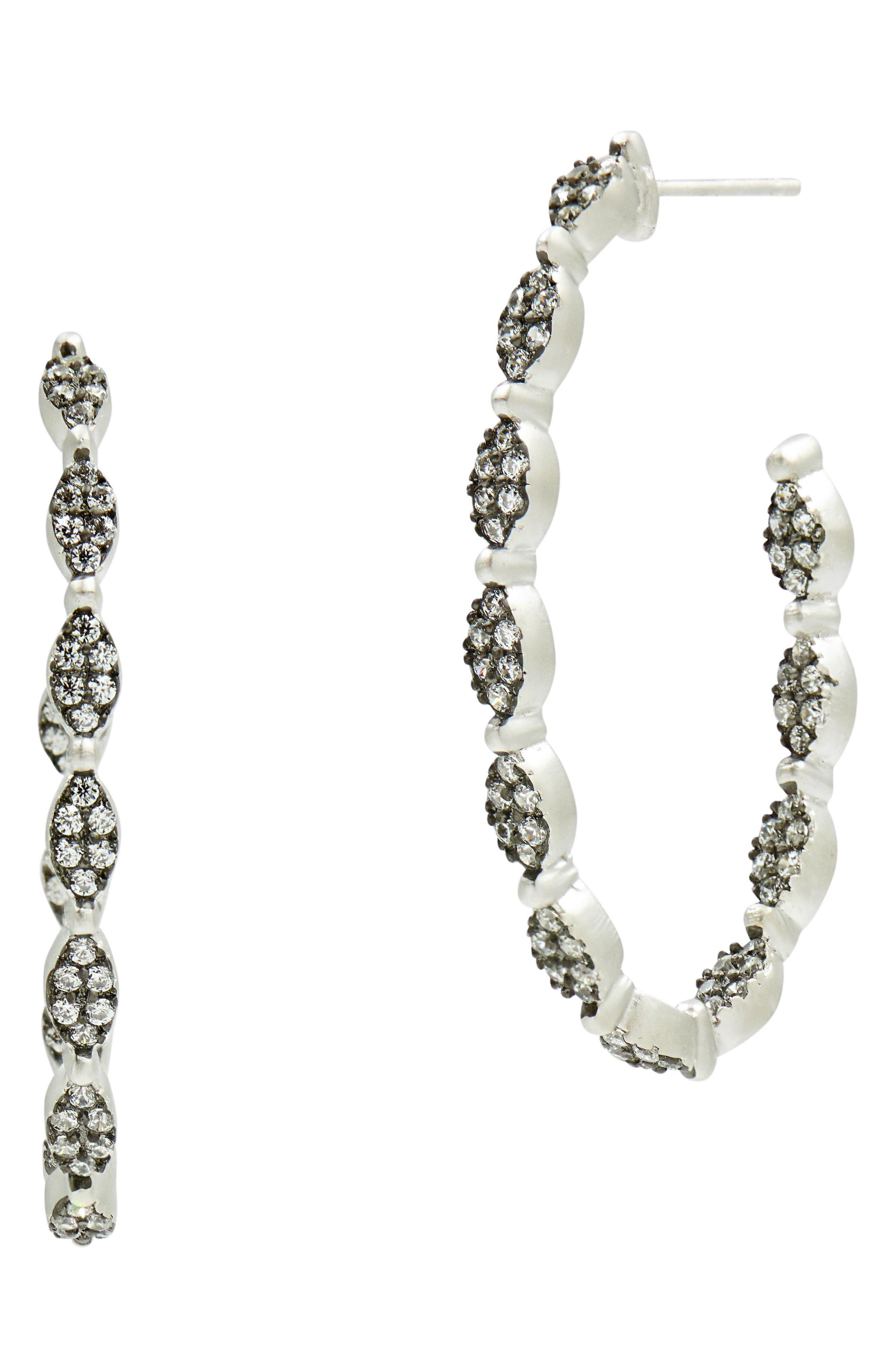Industrial Finish Pavé Hoop Earrings,                         Main,                         color, Black/ Silver