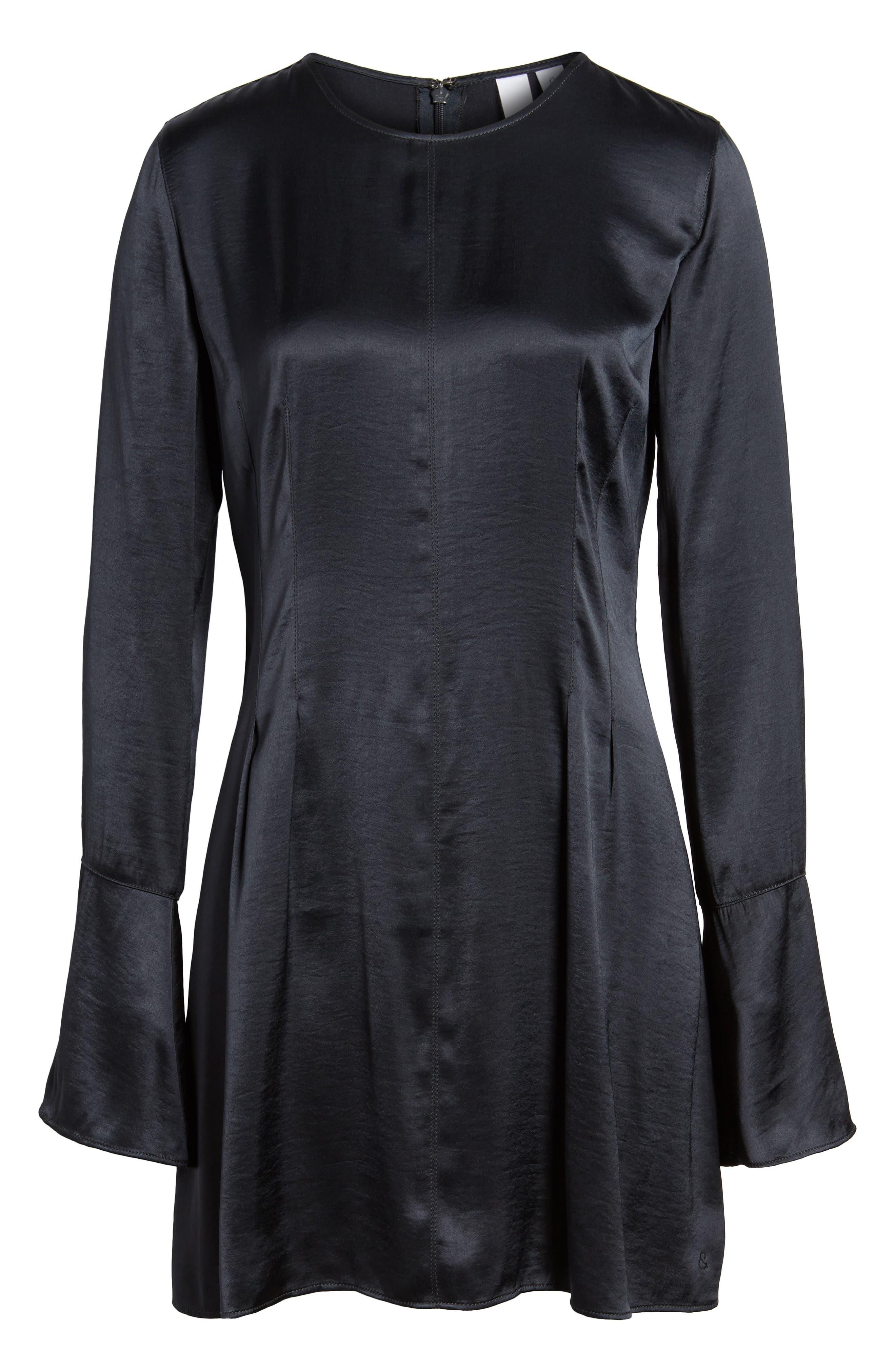 x Something Navy Bell Sleeve Minidress,                             Alternate thumbnail 8, color,                             Grey Phantom