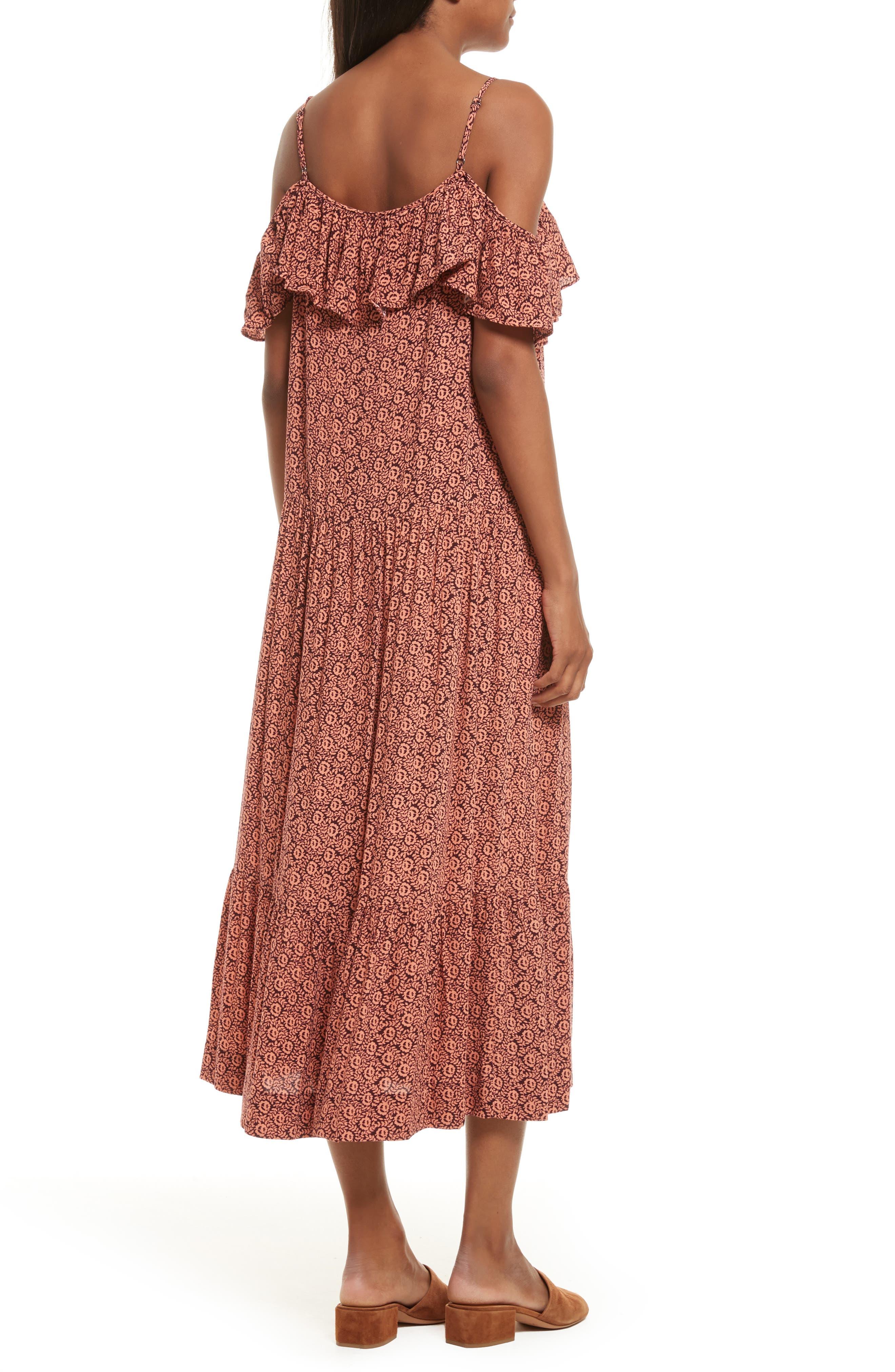 Lapaz Off the Shoulder Midi Dress,                             Alternate thumbnail 2, color,                             Melon