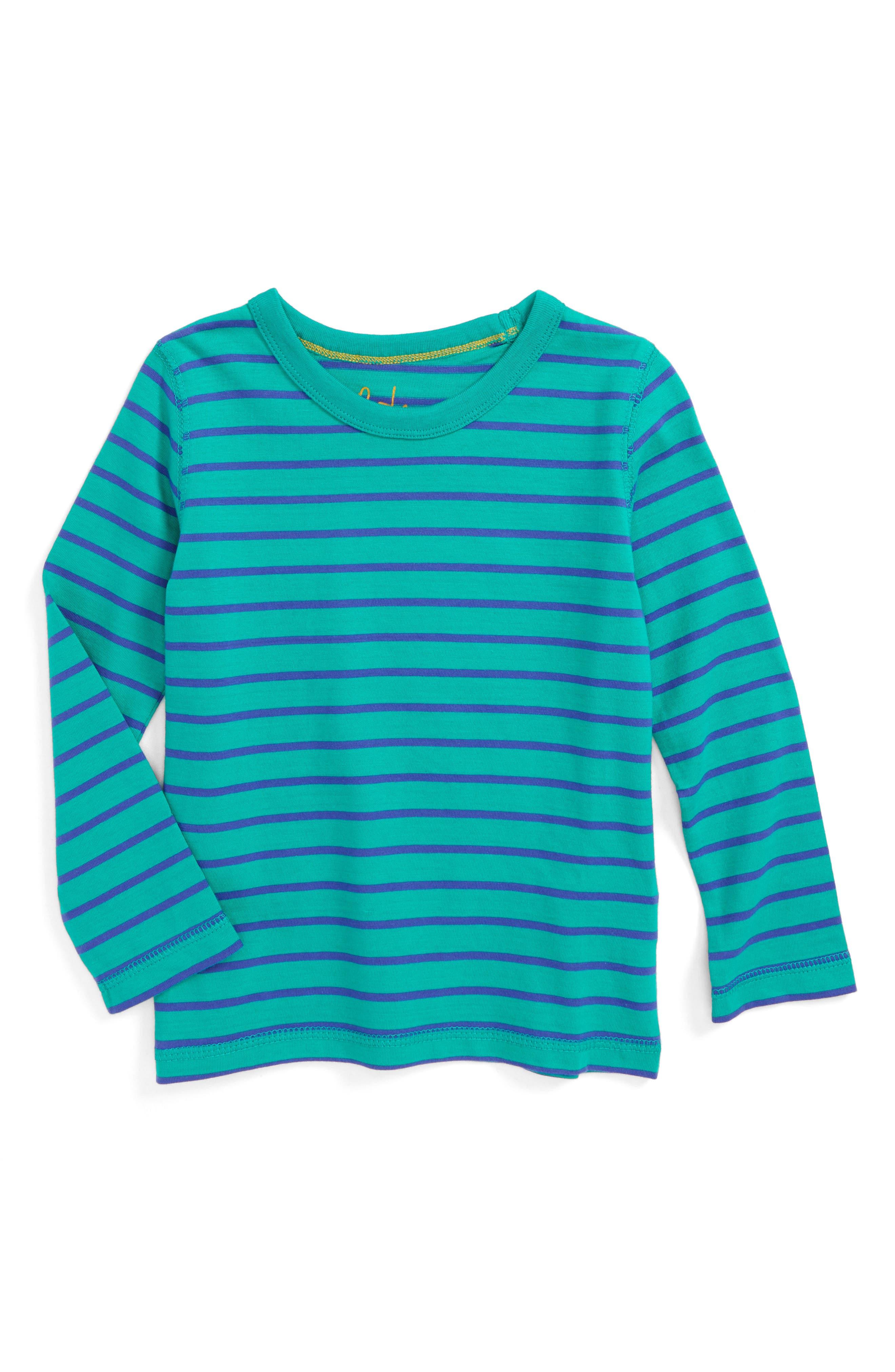 Supersoft Stripe T-Shirt,                             Main thumbnail 1, color,                             Wild Green/ Gymnasium Blue