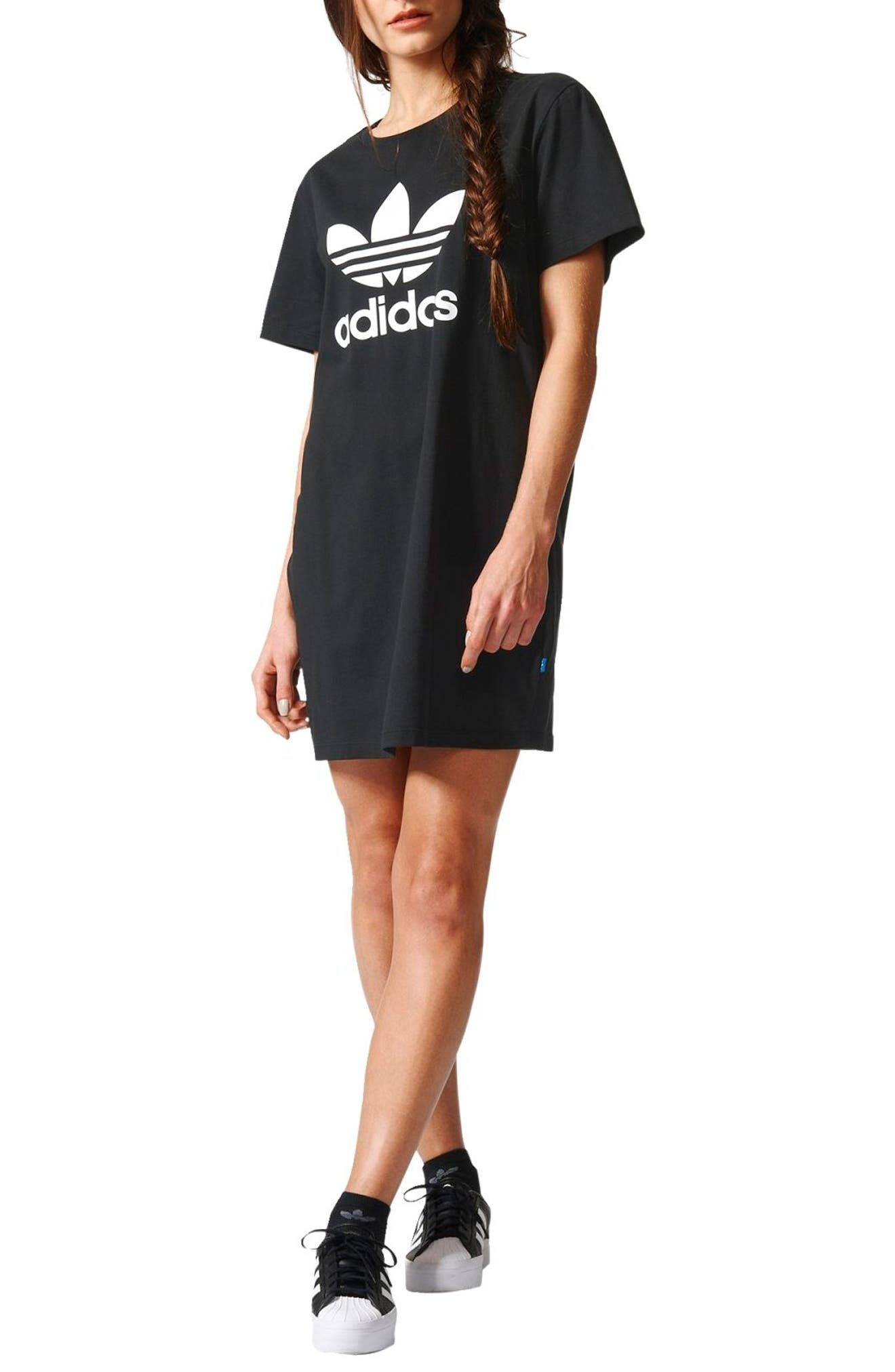 Trefoil Logo T-Shirt Dress,                         Main,                         color, Black