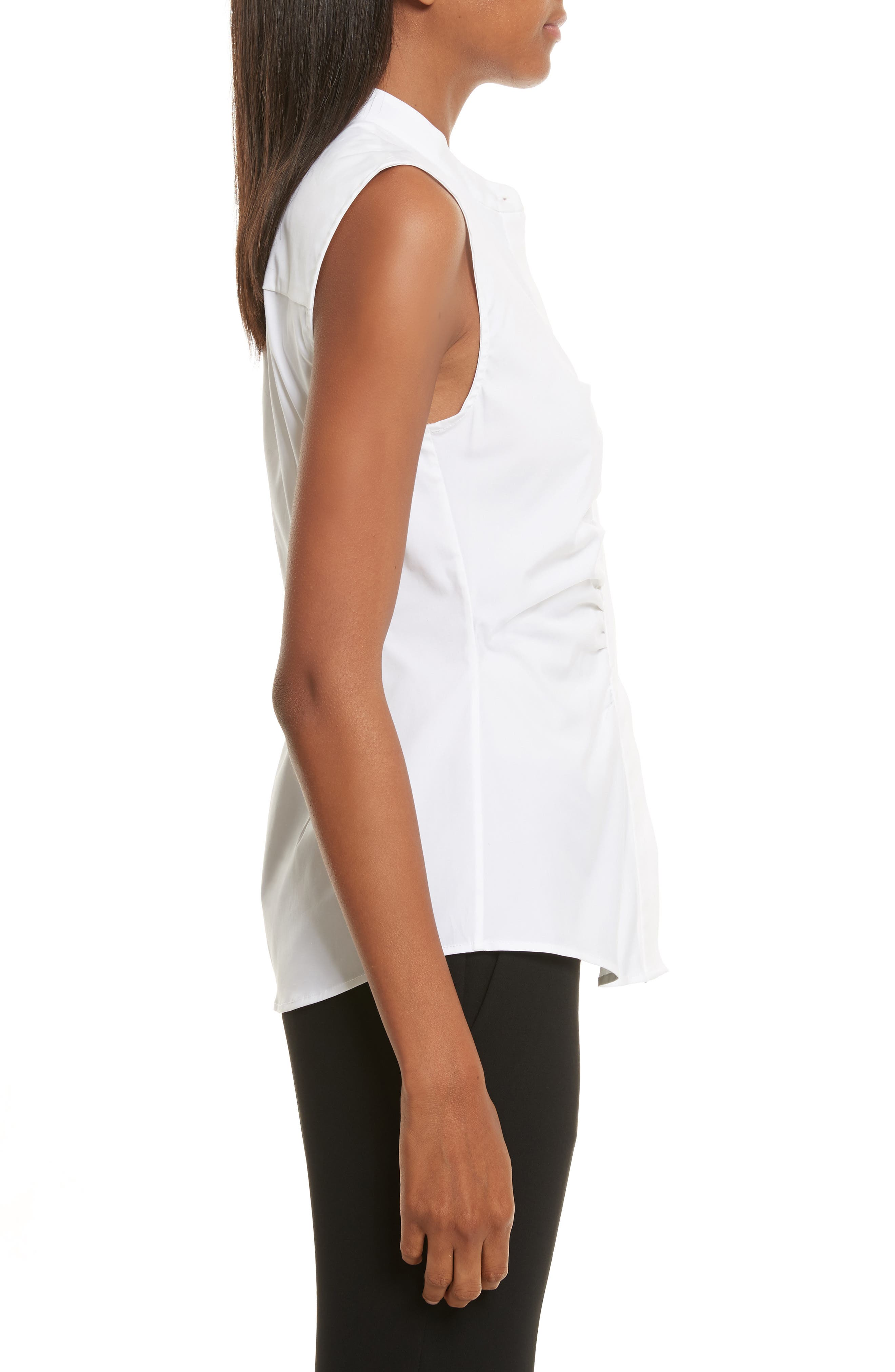 Ruched Fitted Stretch Cotton Blouse,                             Alternate thumbnail 3, color,                             White