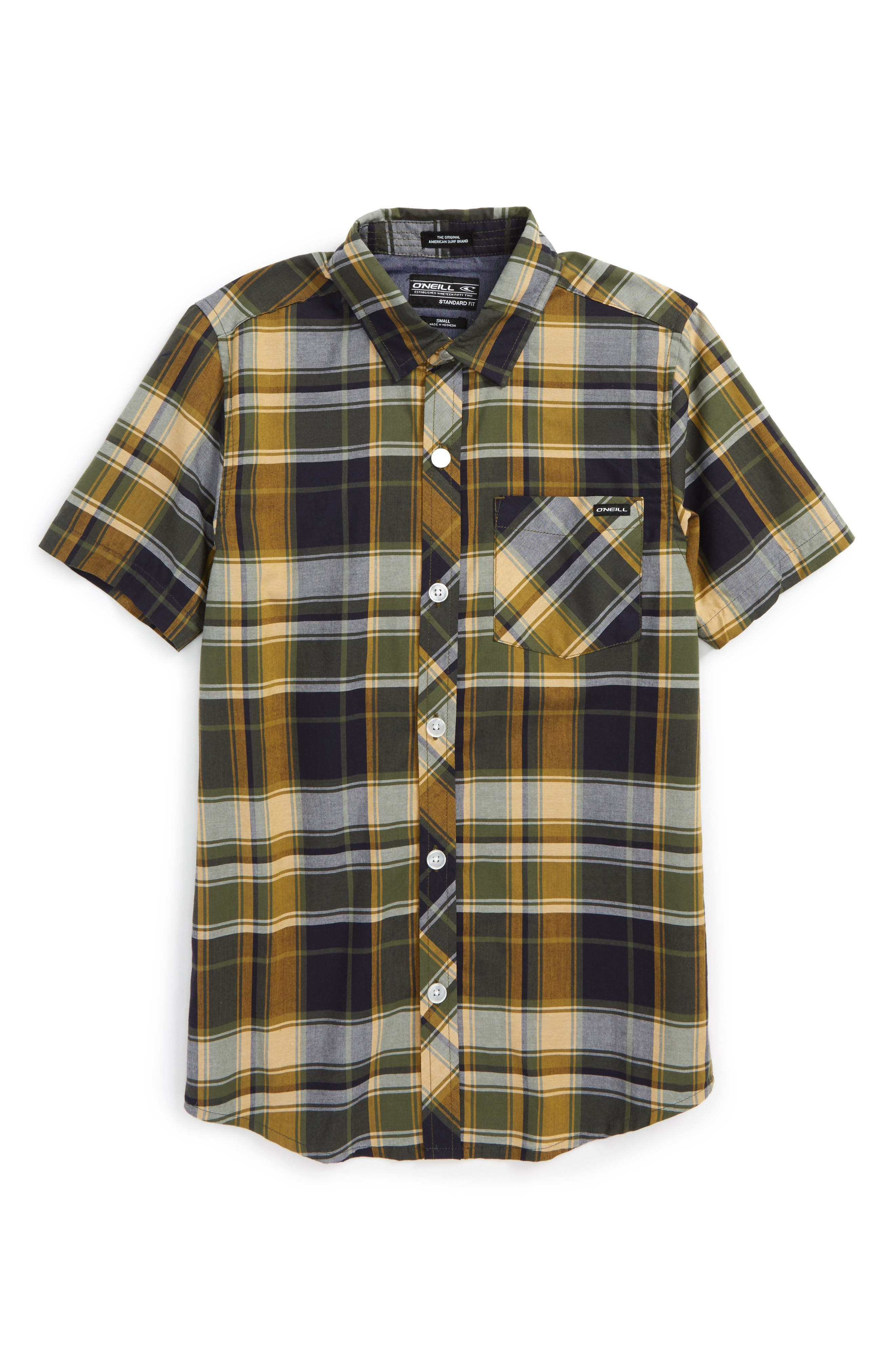 Plaid Short Sleeve Shirt,                         Main,                         color, Navy