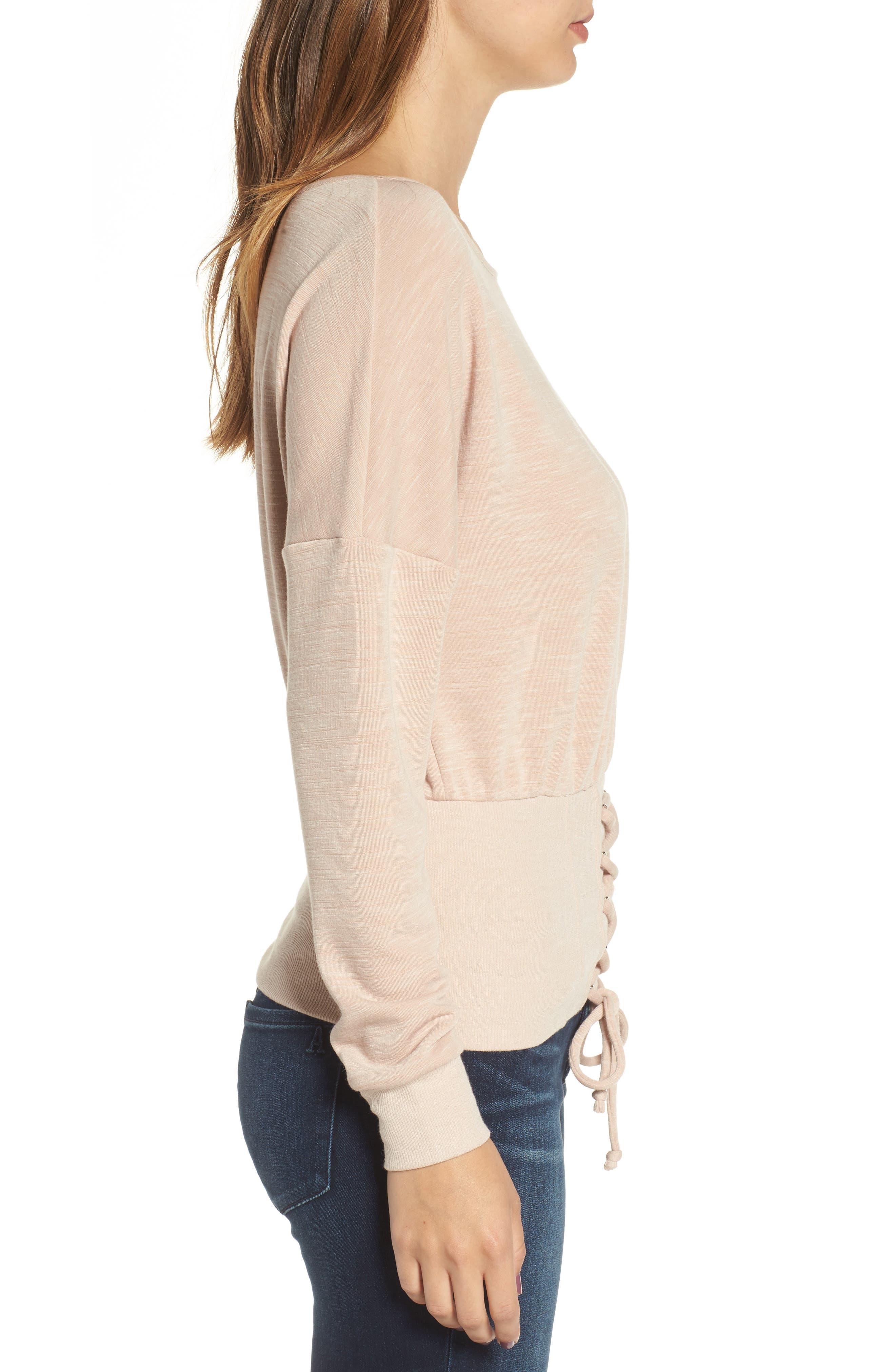 Corset Sweatshirt,                             Alternate thumbnail 3, color,                             Blush