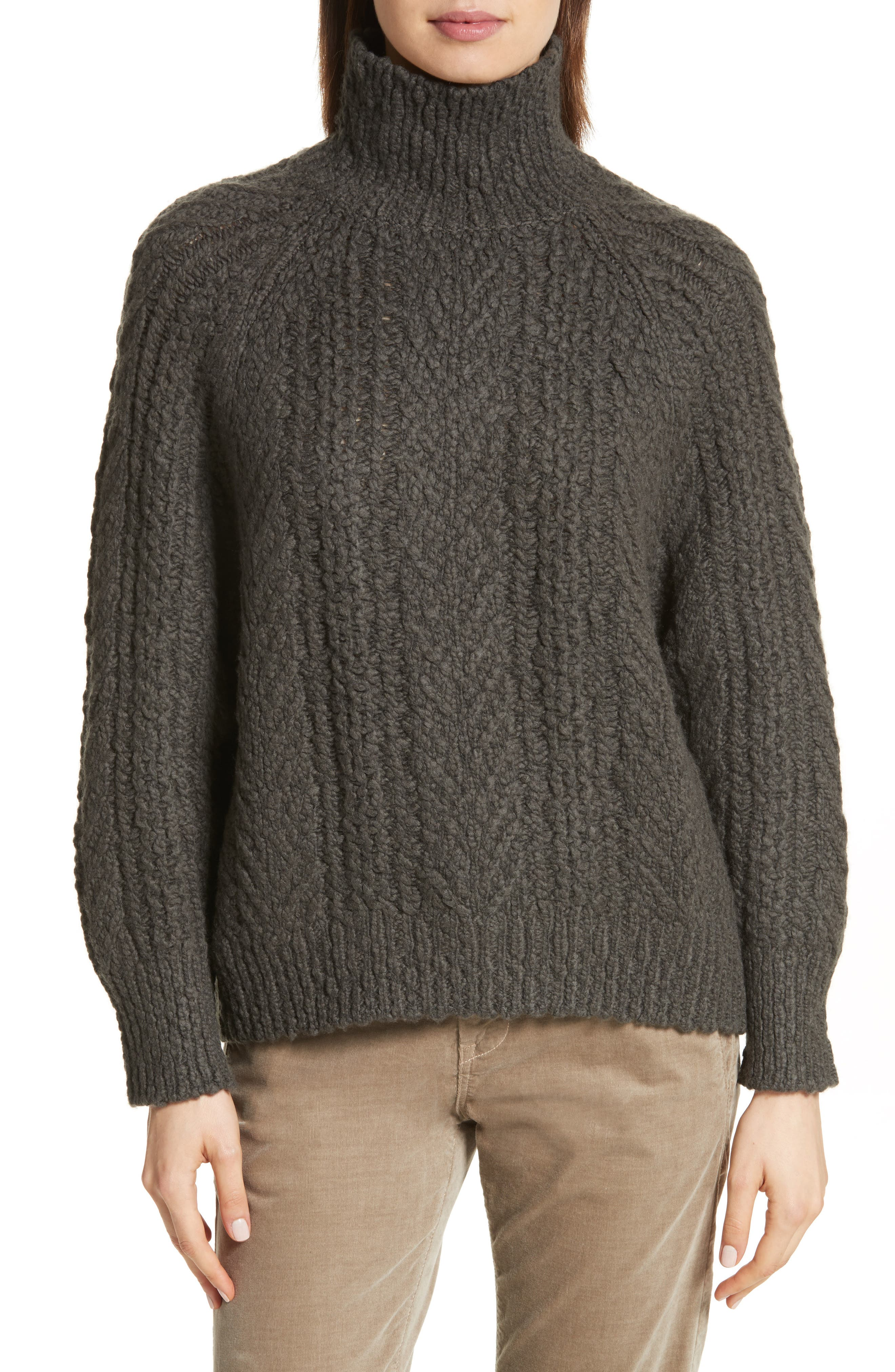 VINCE Cable Knit Turtleneck Sweater