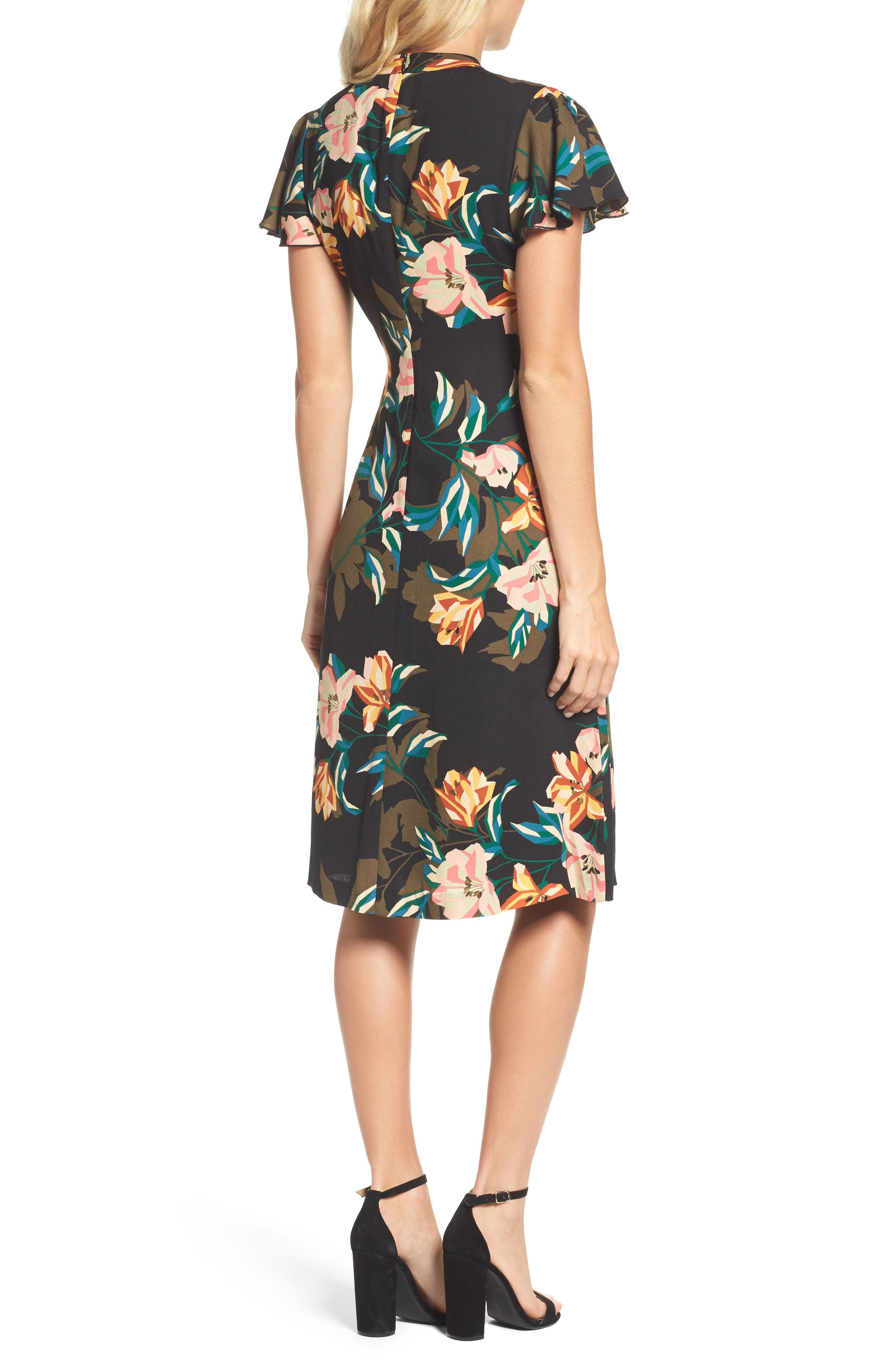 Alternate Image 2  - Julia Jordan Print Choker Collar Midi Dress