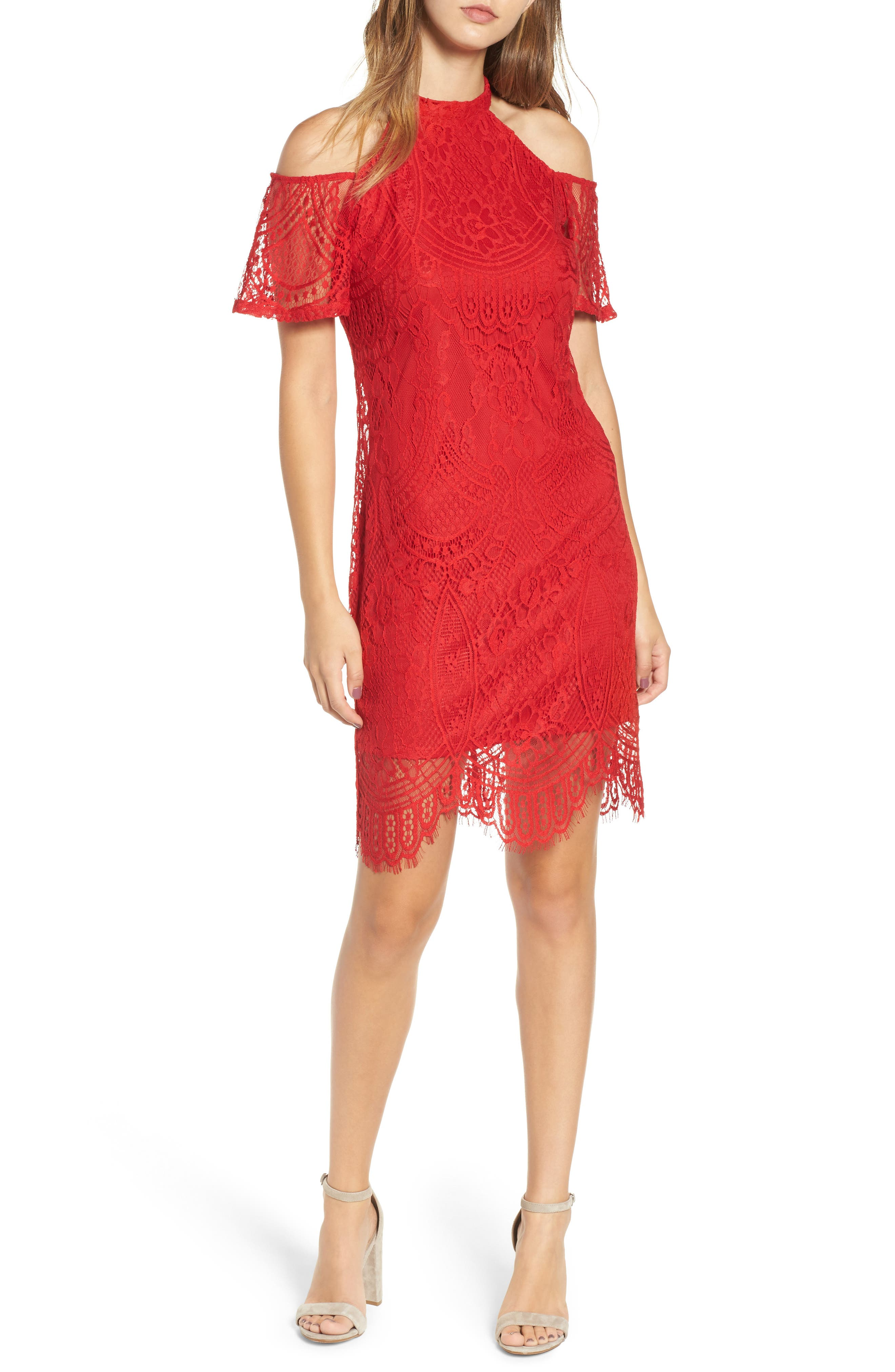 Lace Cold Shoulder Dress,                         Main,                         color, Holly Red