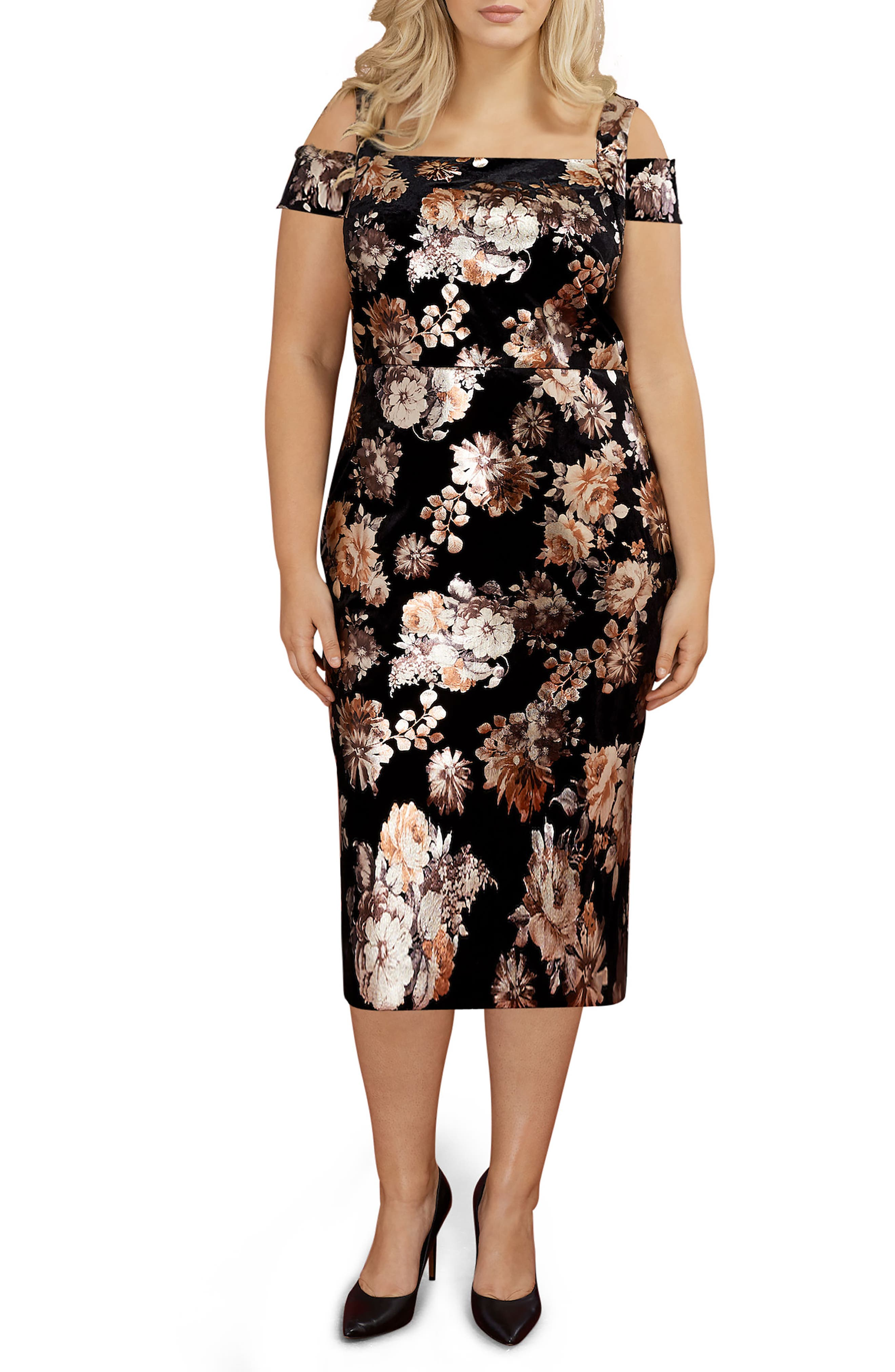 Cold Shoulder Foil Print Velvet Midi Dress,                             Main thumbnail 1, color,                             Black/ Rust