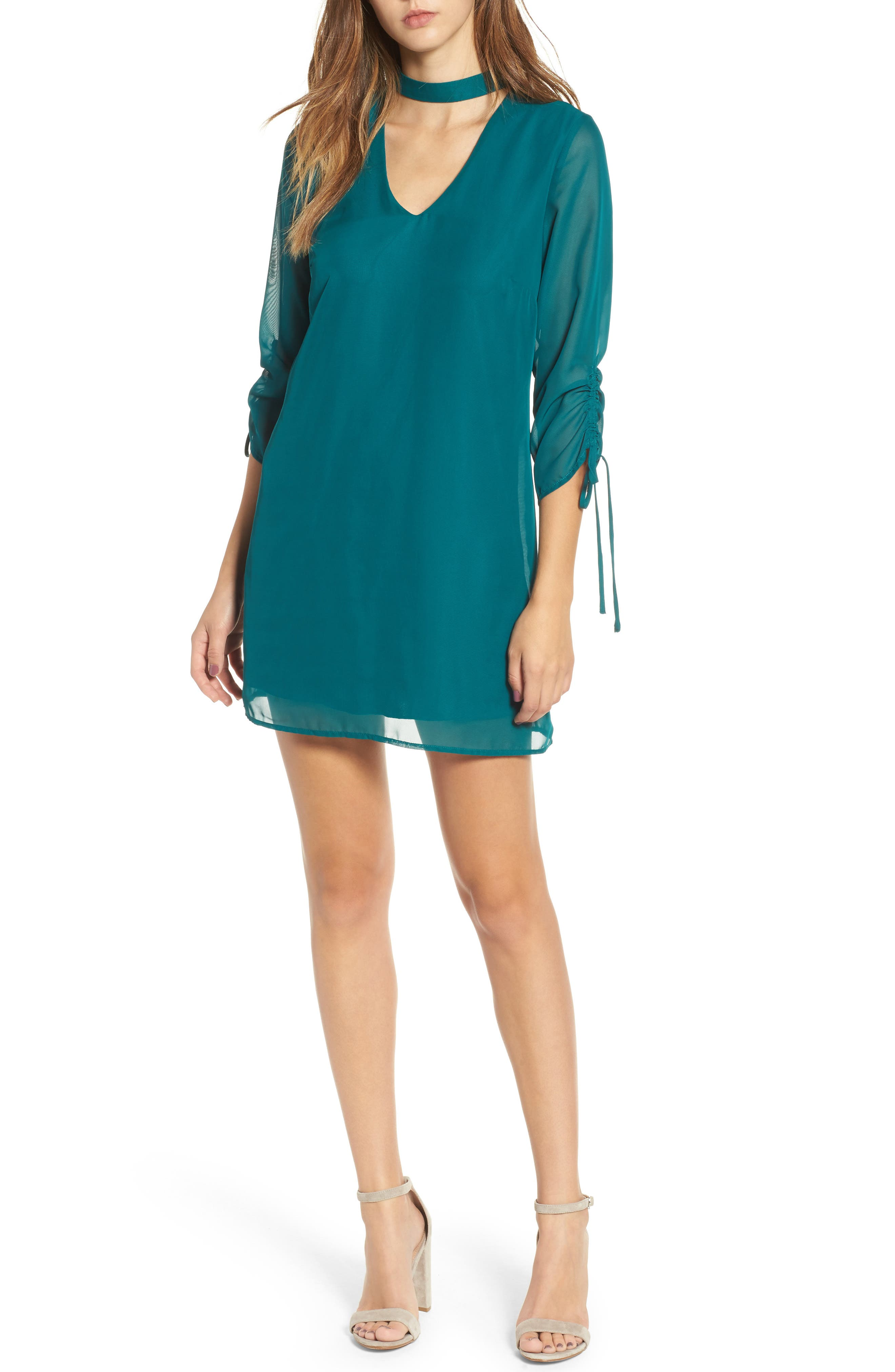 Gigi Choker Shift Dress,                             Main thumbnail 1, color,                             Light Jade