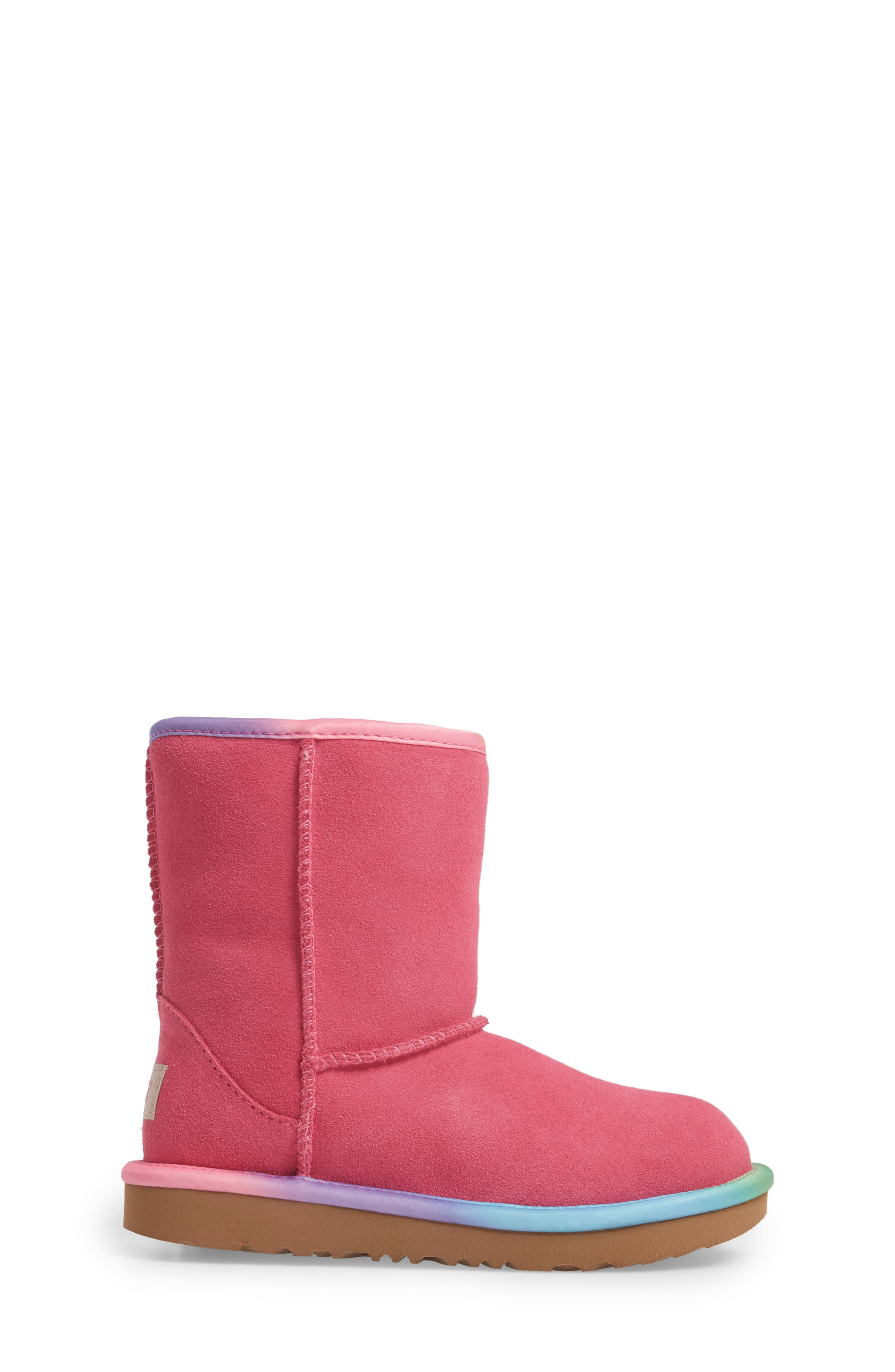 Alternate Image 3  - UGG® Classic Short II Water-Resistant Genuine Shearling Rainbow Boot (Walker, Toddler, Little Kid & Big Kid)