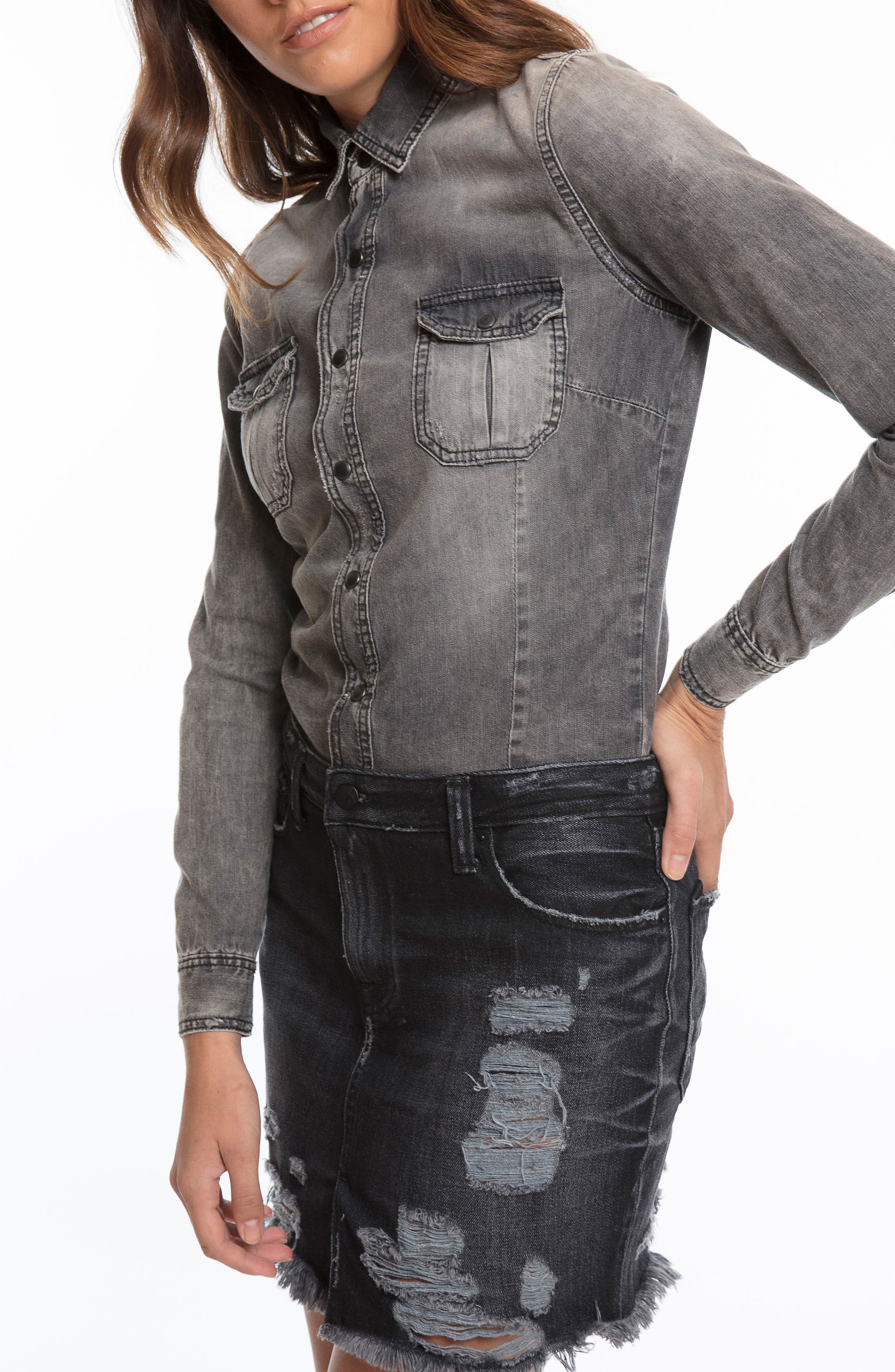 Mixed Media Denim Shirtdress,                         Main,                         color, Black