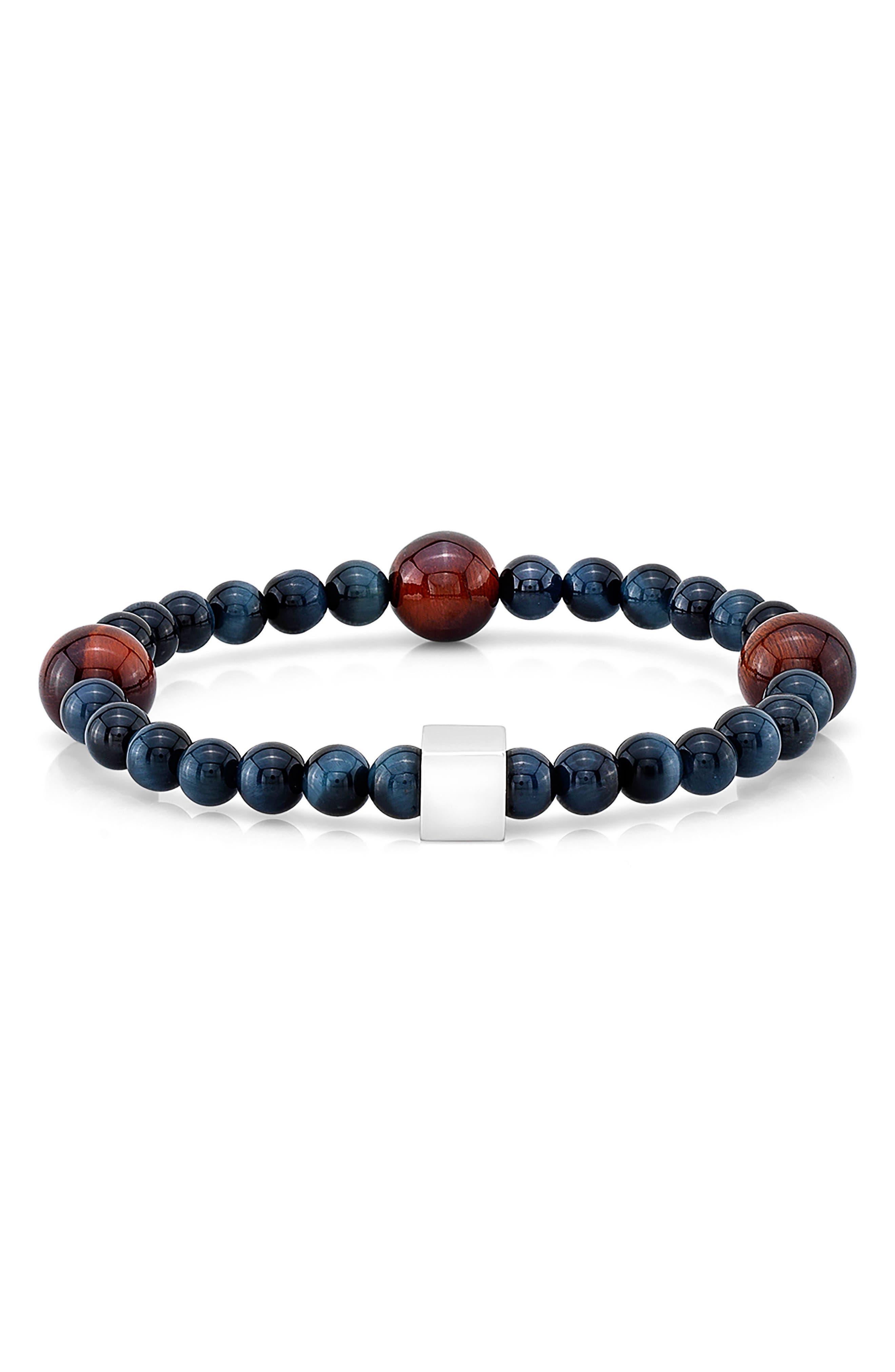 Tiger's Eye Bead Bracelet,                         Main,                         color, Blue/ Red
