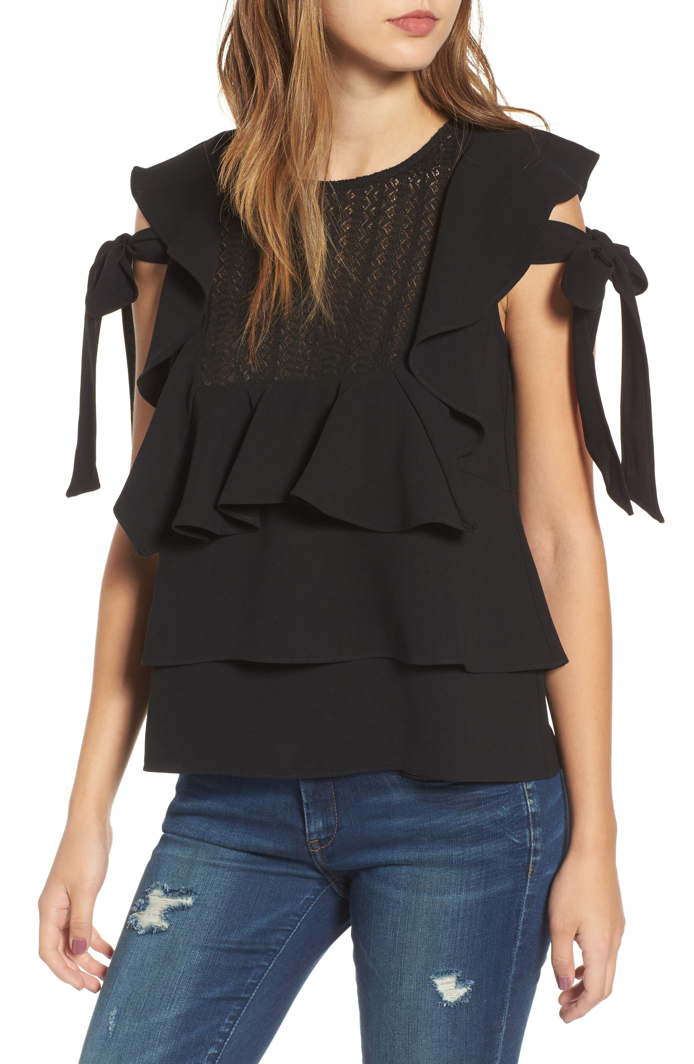 Ruffled Top,                         Main,                         color, Black