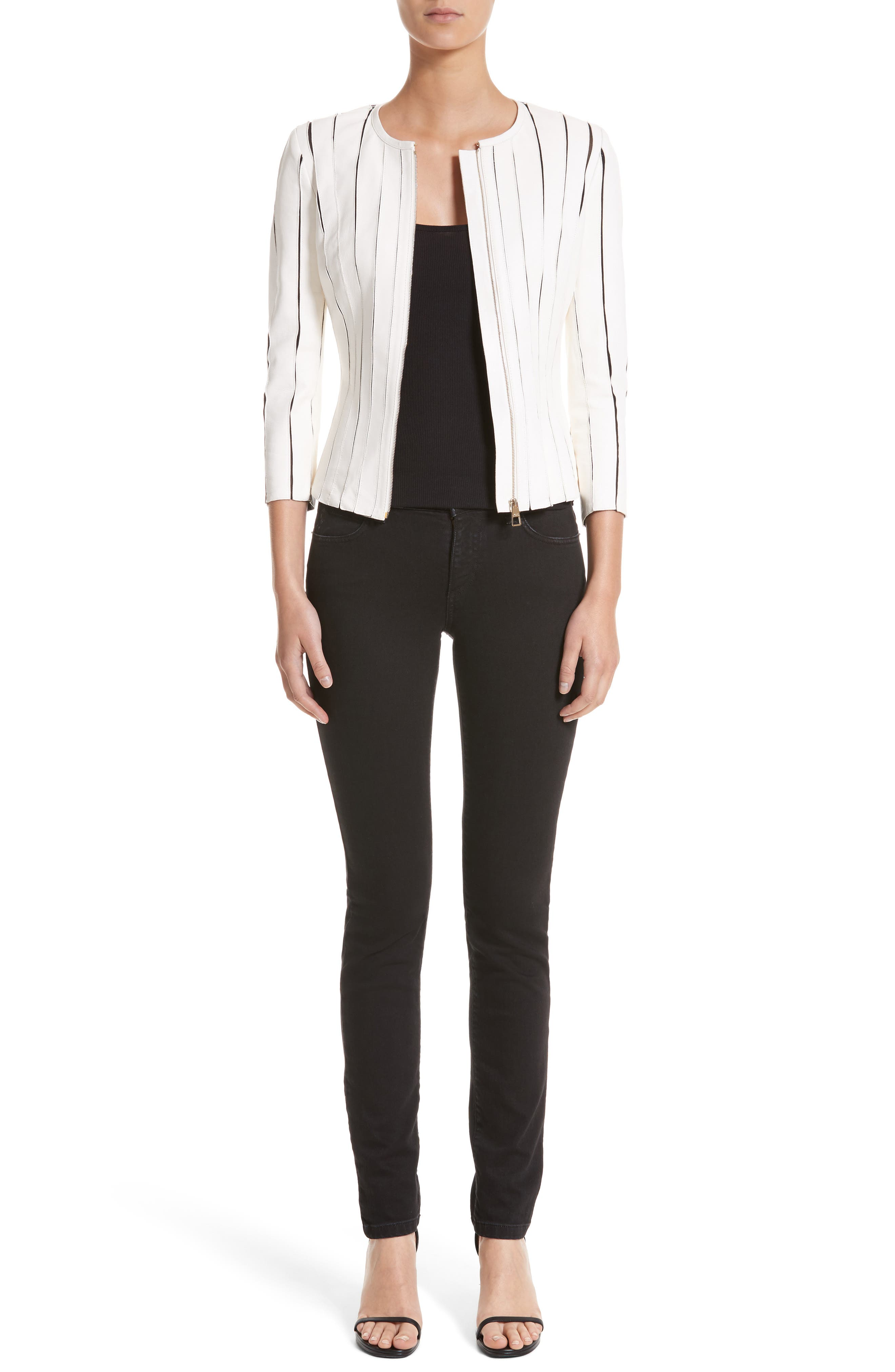 Alternate Image 7  - Versace Collection Embellished Pocket Skinny Jeans