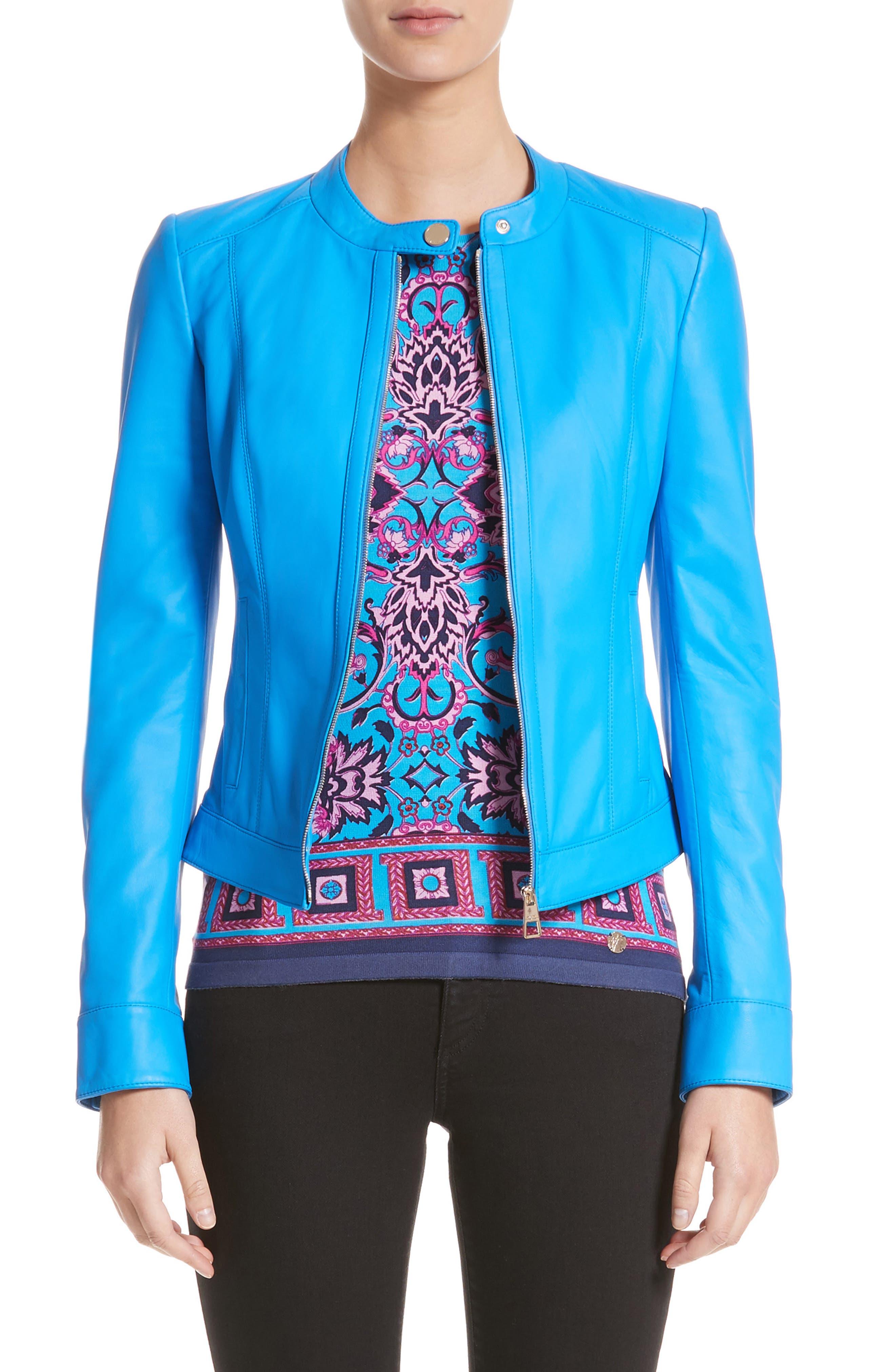 Nappa Leather Jacket,                         Main,                         color, Cobalt