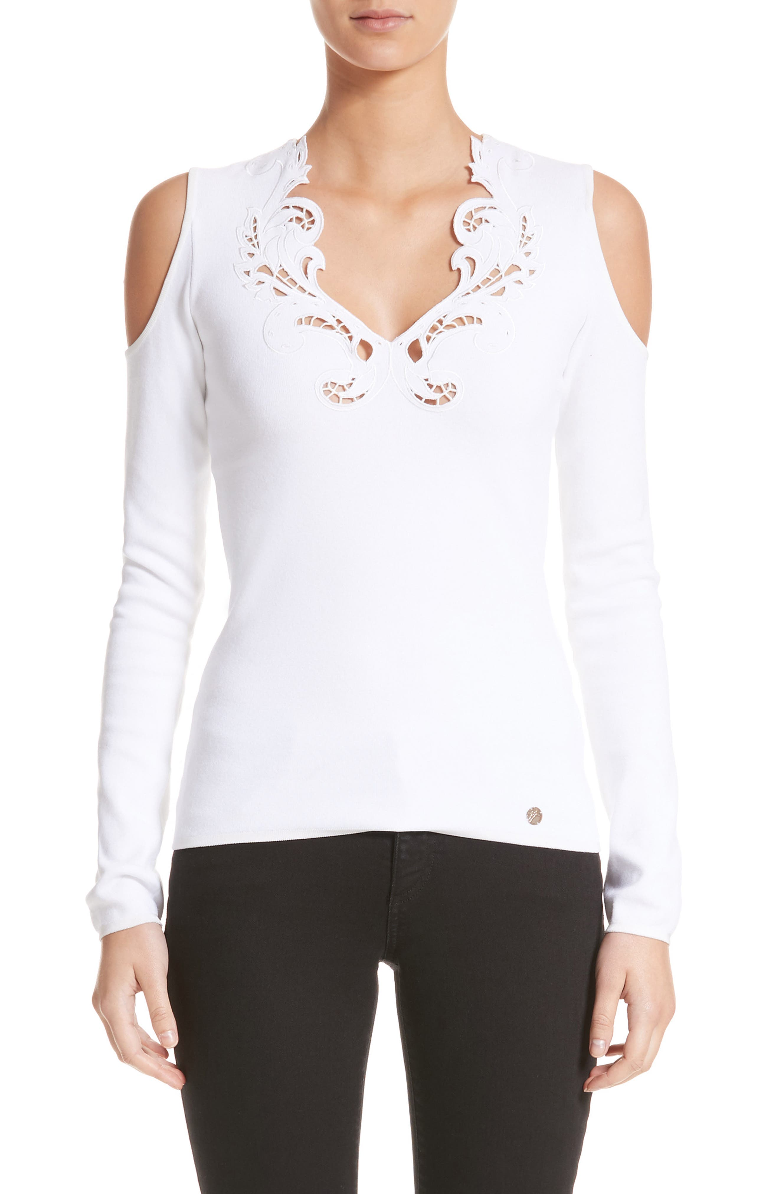 Main Image - Versace Collection Cutwork Cold Shoulder Top