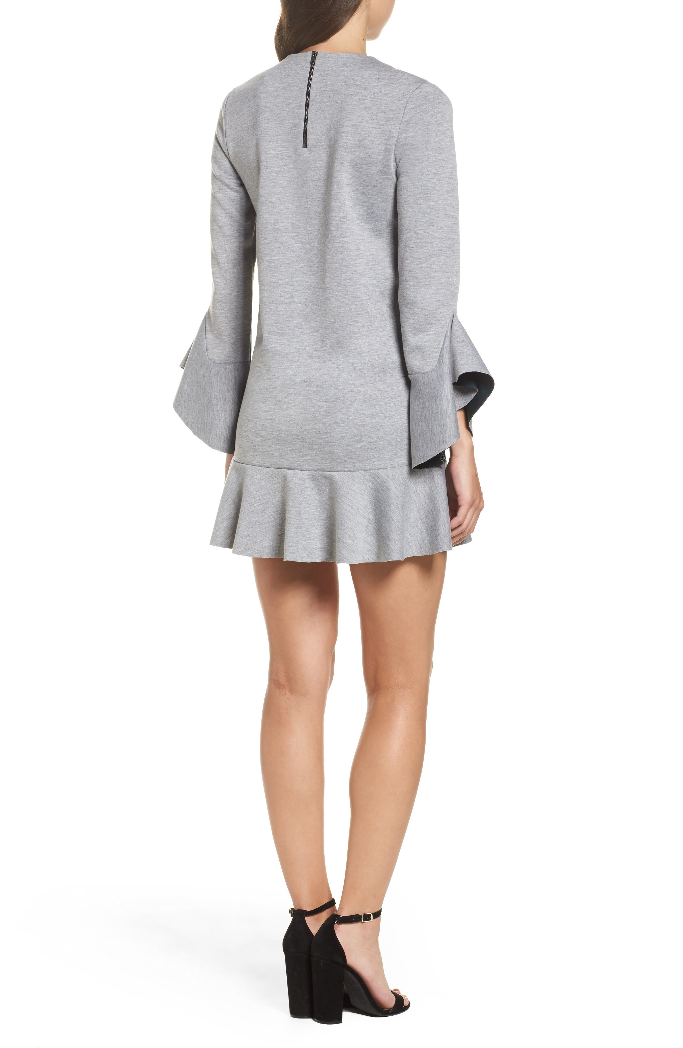 Ruffle Scuba Dress,                             Alternate thumbnail 3, color,                             Grey Heather
