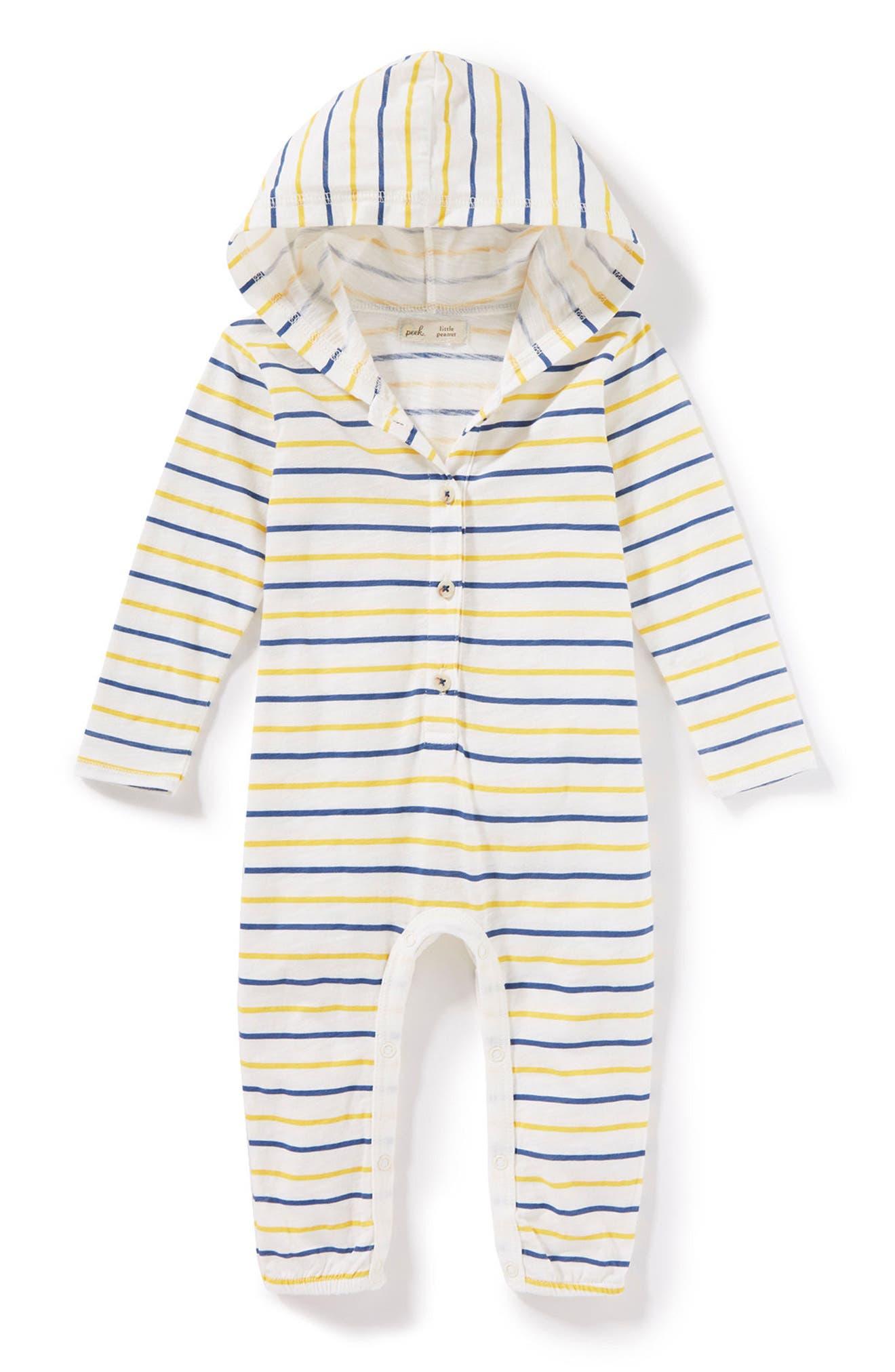 Peek Stripe Hooded Romper (Baby Boys)