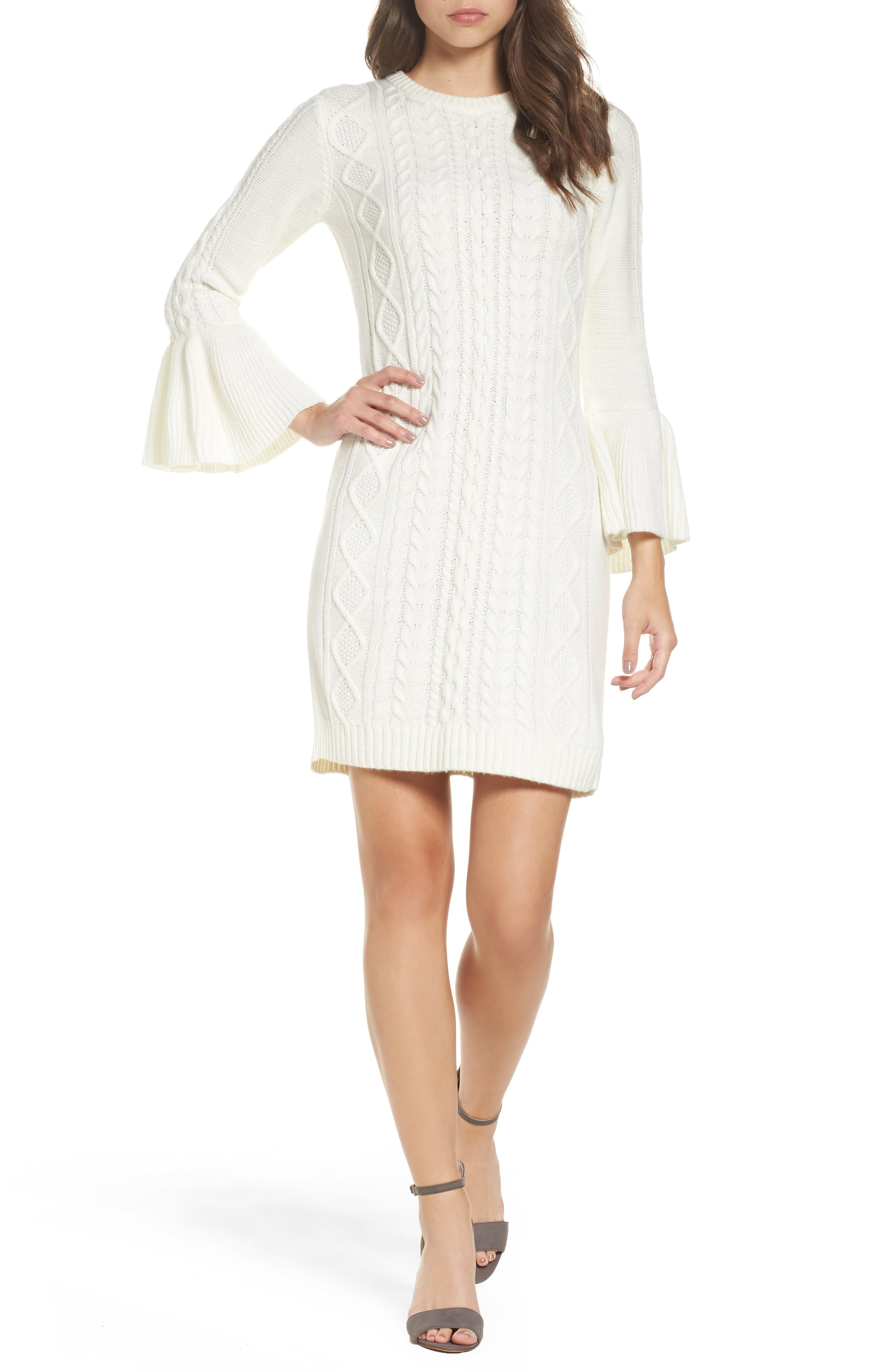Eliza J Mixed Cable Sweater Dress (Regular & Petite)