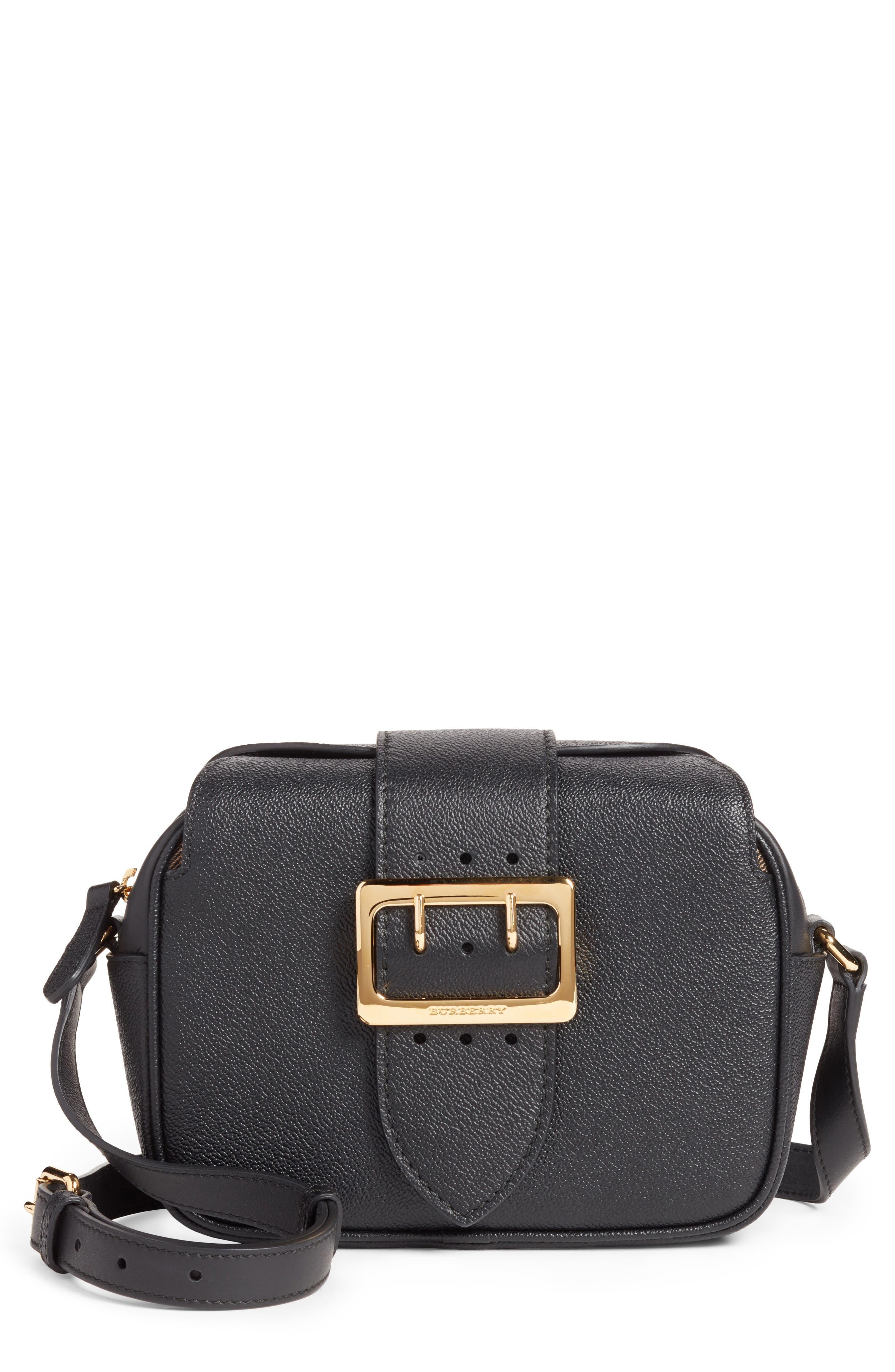 Small Buckle Leather Crossbody Bag,                             Main thumbnail 1, color,                             Black