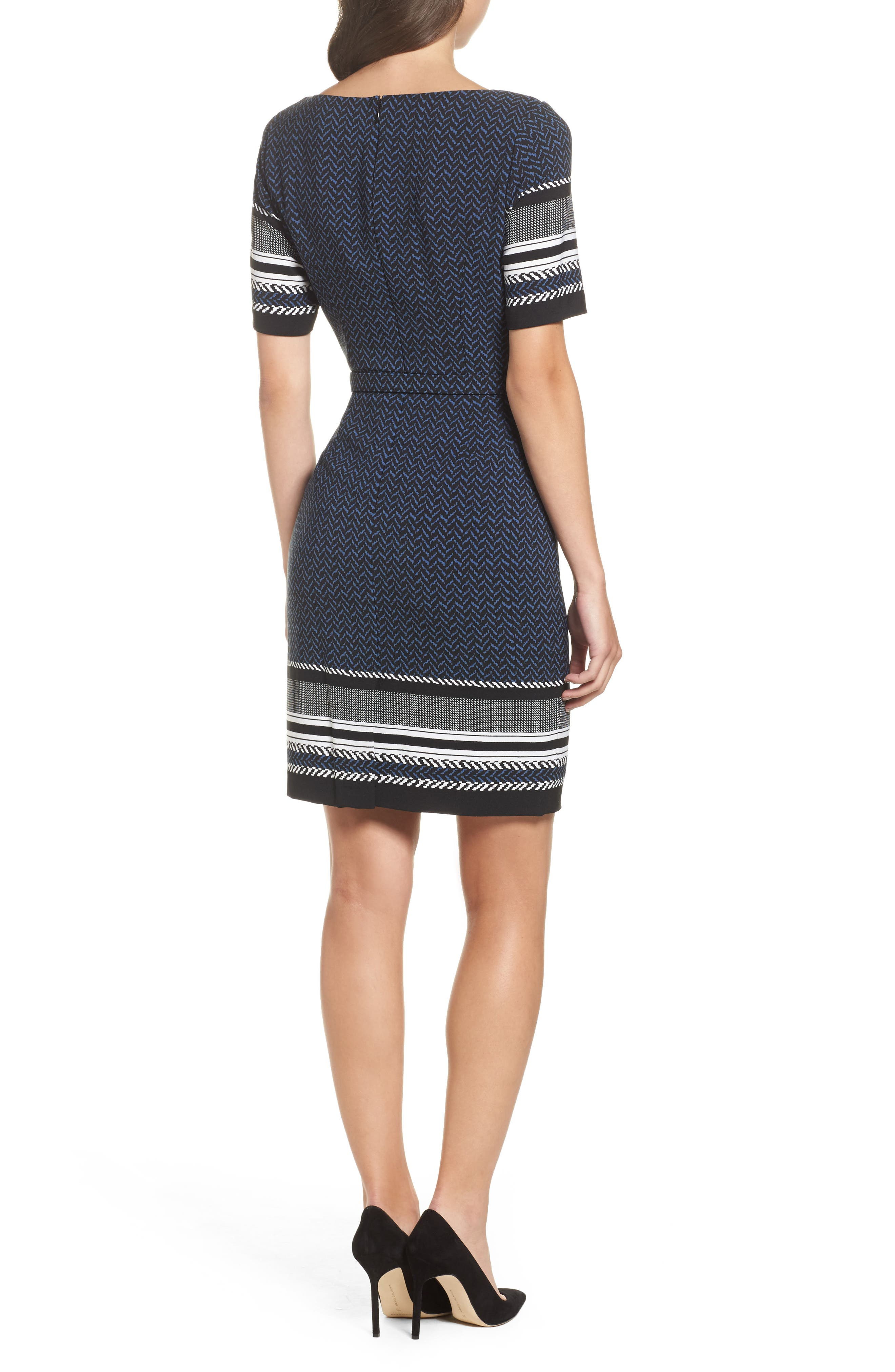 Alternate Image 2  - Adrianna Papell Mixed Herringbone Sheath Dress