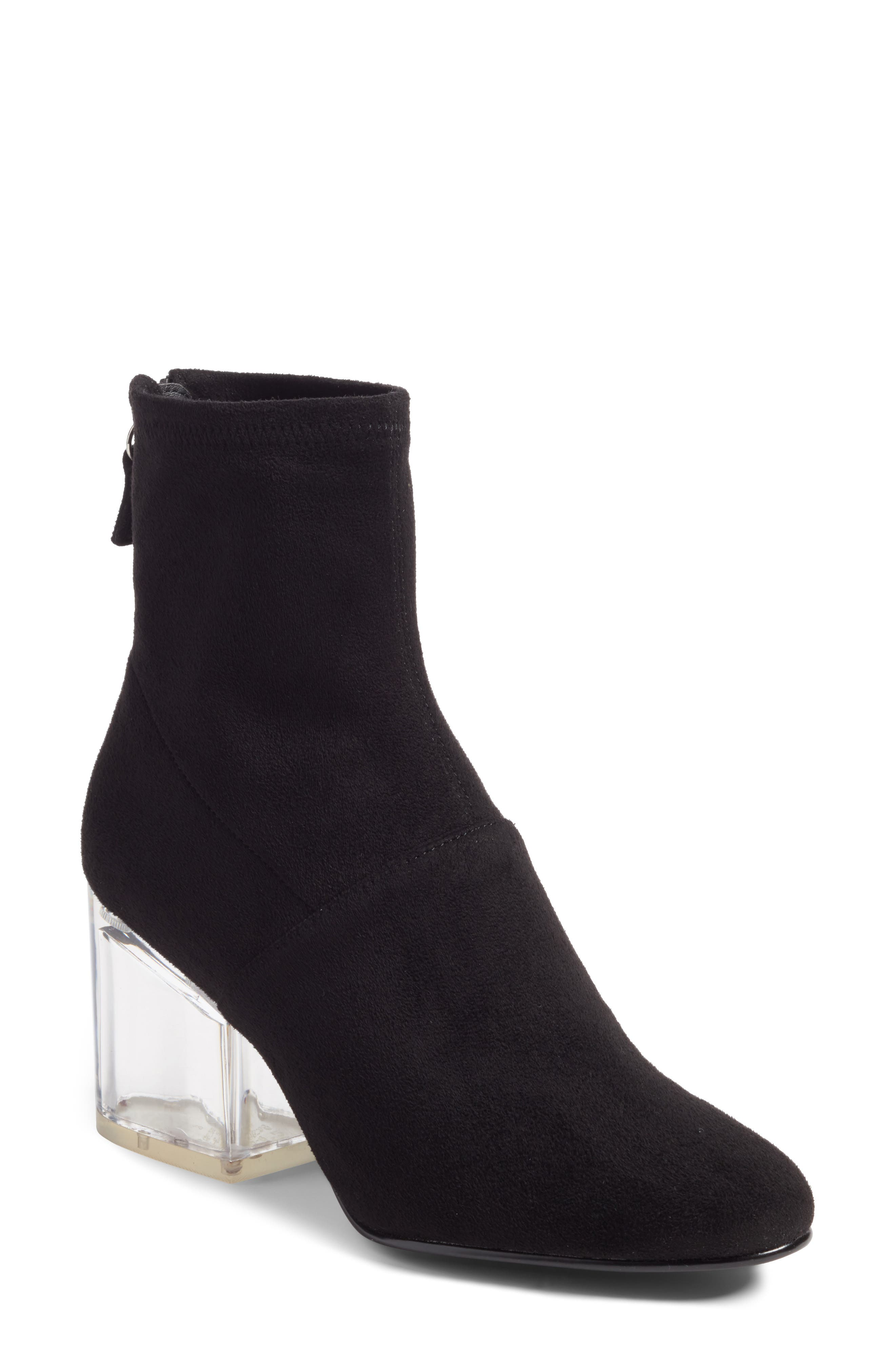 Lusty Statement Heel Bootie,                             Main thumbnail 1, color,                             Black
